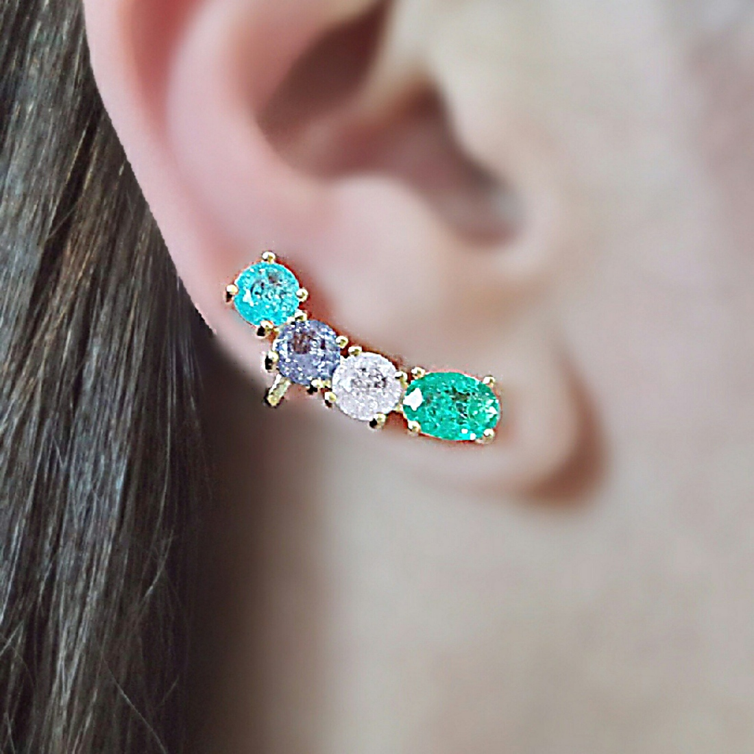 Ear Cuff Pedras Coloridas Fusion com Garra Semijoia Ouro  - Soloyou