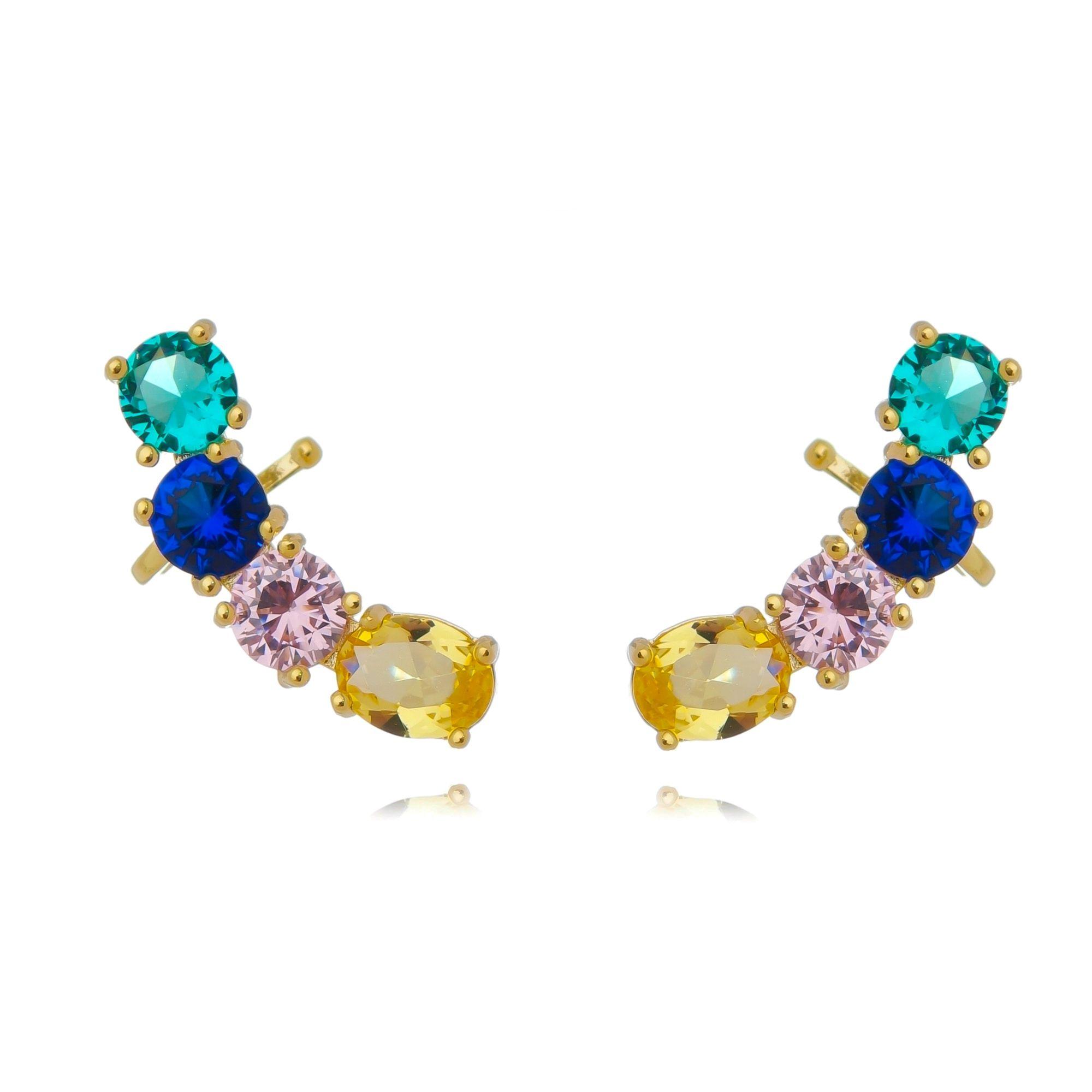Ear Cuff Pedras Coloridas com Garra Moda Semijoia Ouro  - Soloyou