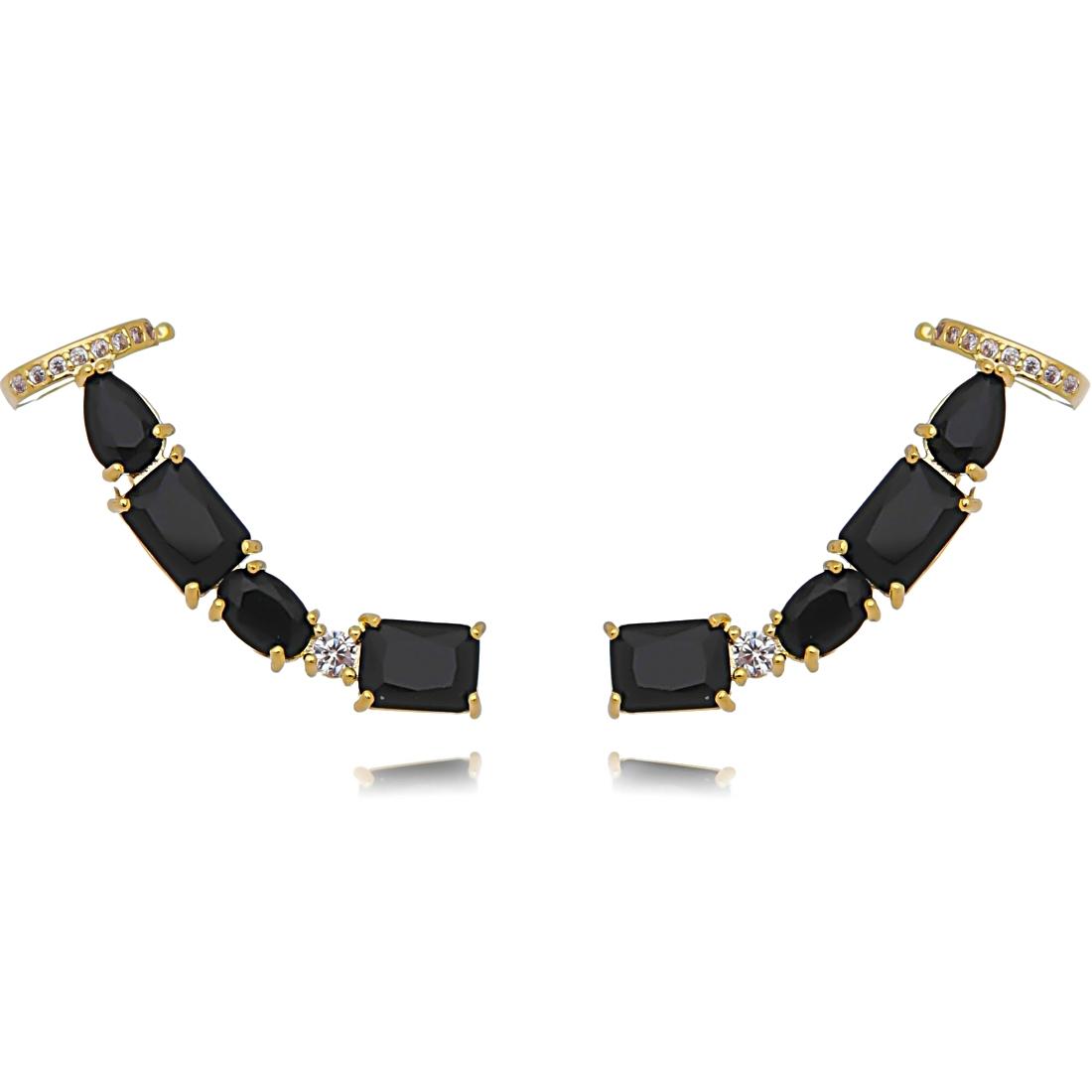 Ear Cuff Preto Dourado Grande com Piercing Semijoia Ouro  - Soloyou