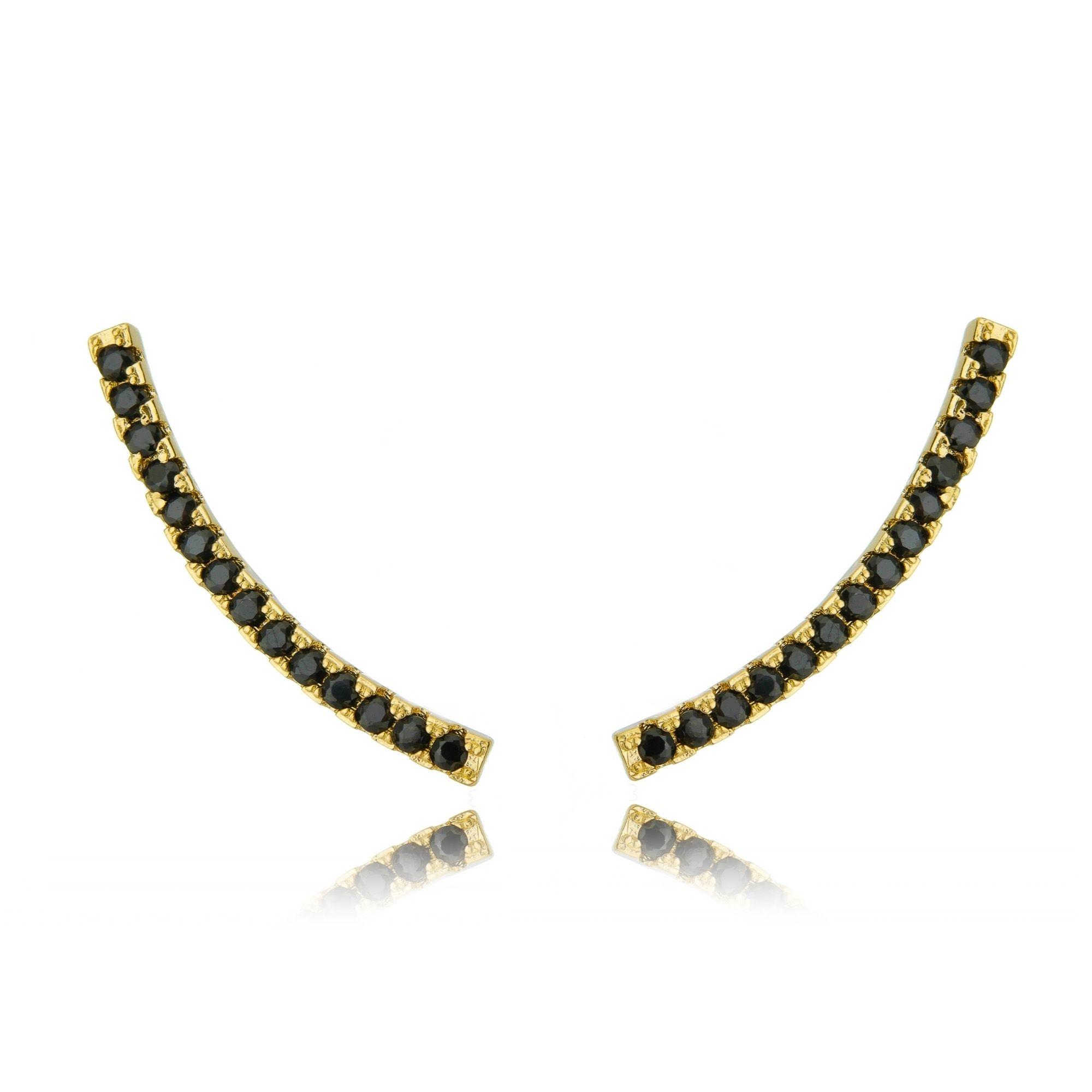 Ear Cuff Preto Palito Cravejado de Zircônias Semijoia Luxo Ouro  - Soloyou