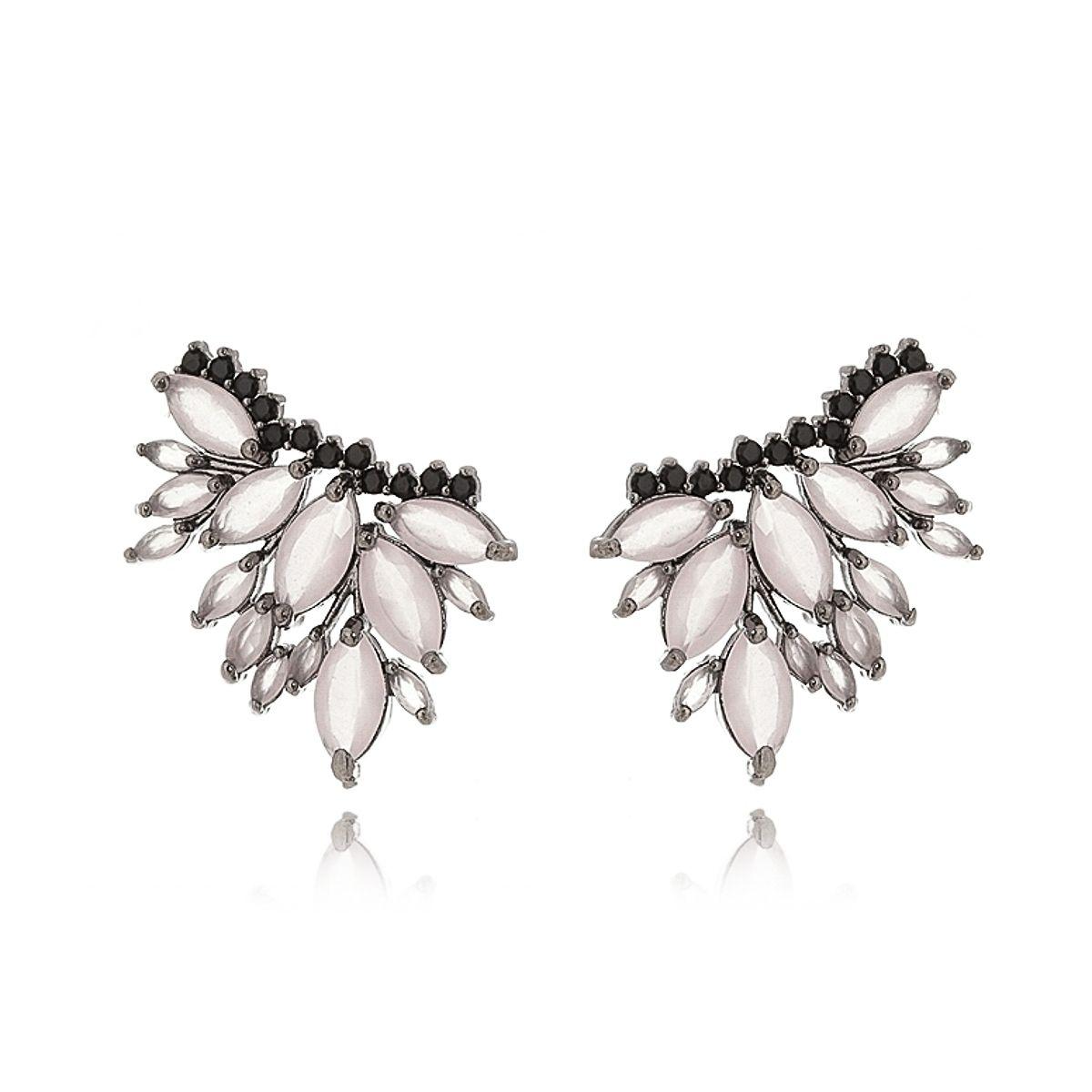 Ear Cuff Quartzo Rosa com Micro Zircônia Preta Semijoia Fashion em Ródio Negro  - SOLOYOU