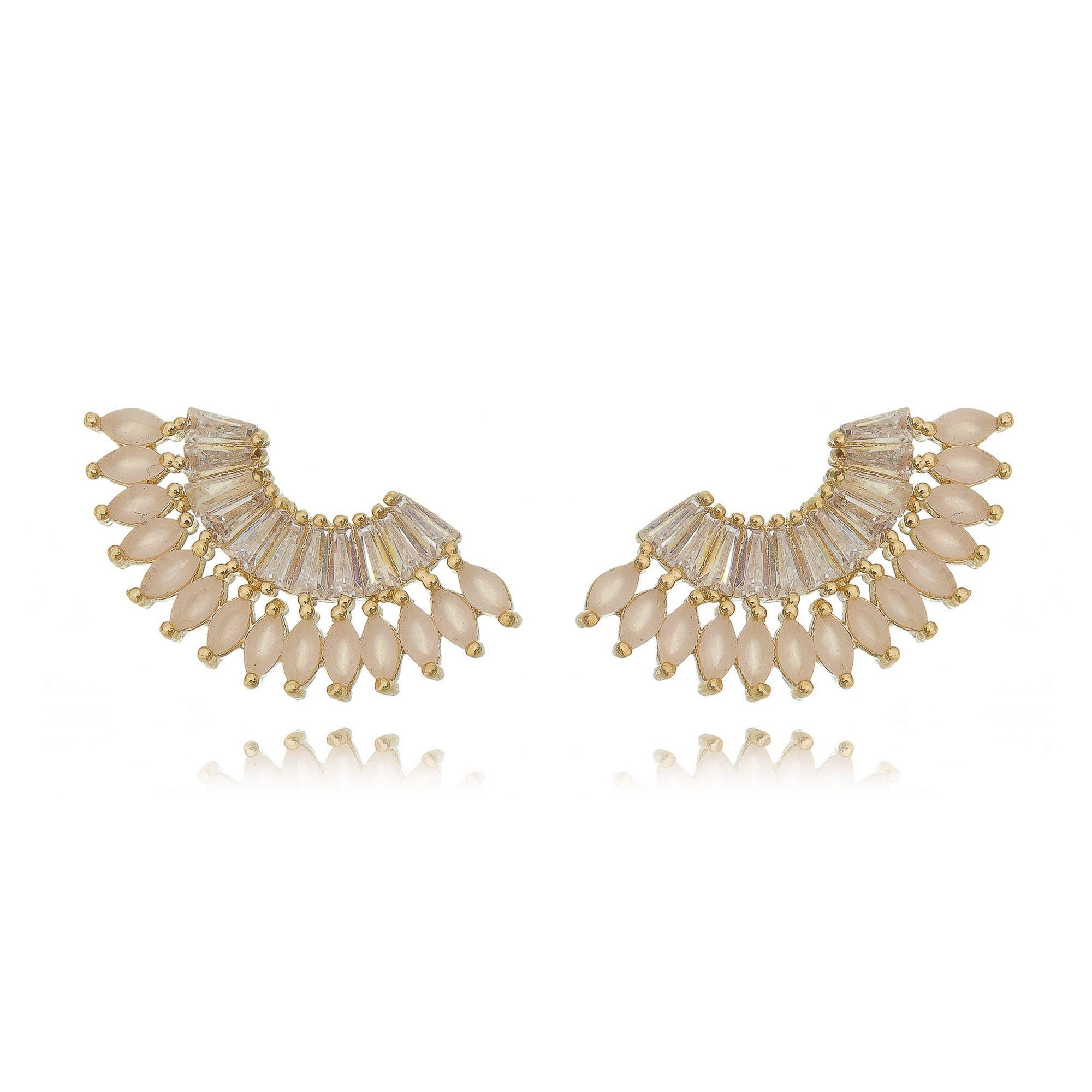 Ear Cuff Quartzo Rosa e Zircônia Cristal Semijoia Luxo Ouro 18K  - Soloyou