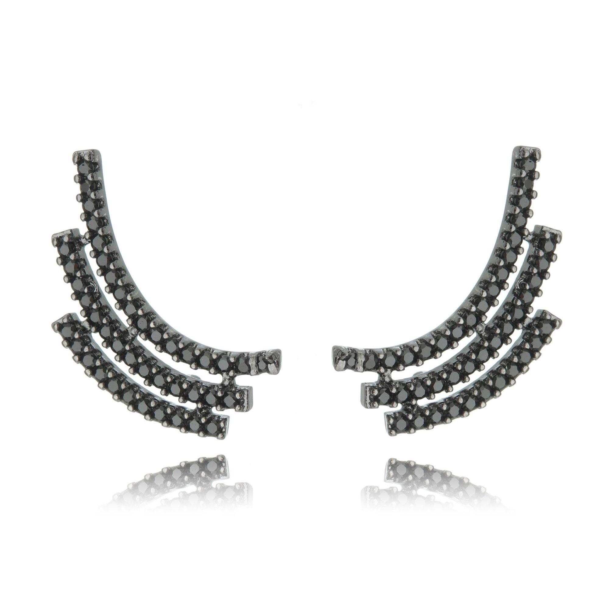 Ear Cuff Ródio Negro Zircônia Preta Semijoia de Luxo  - Soloyou