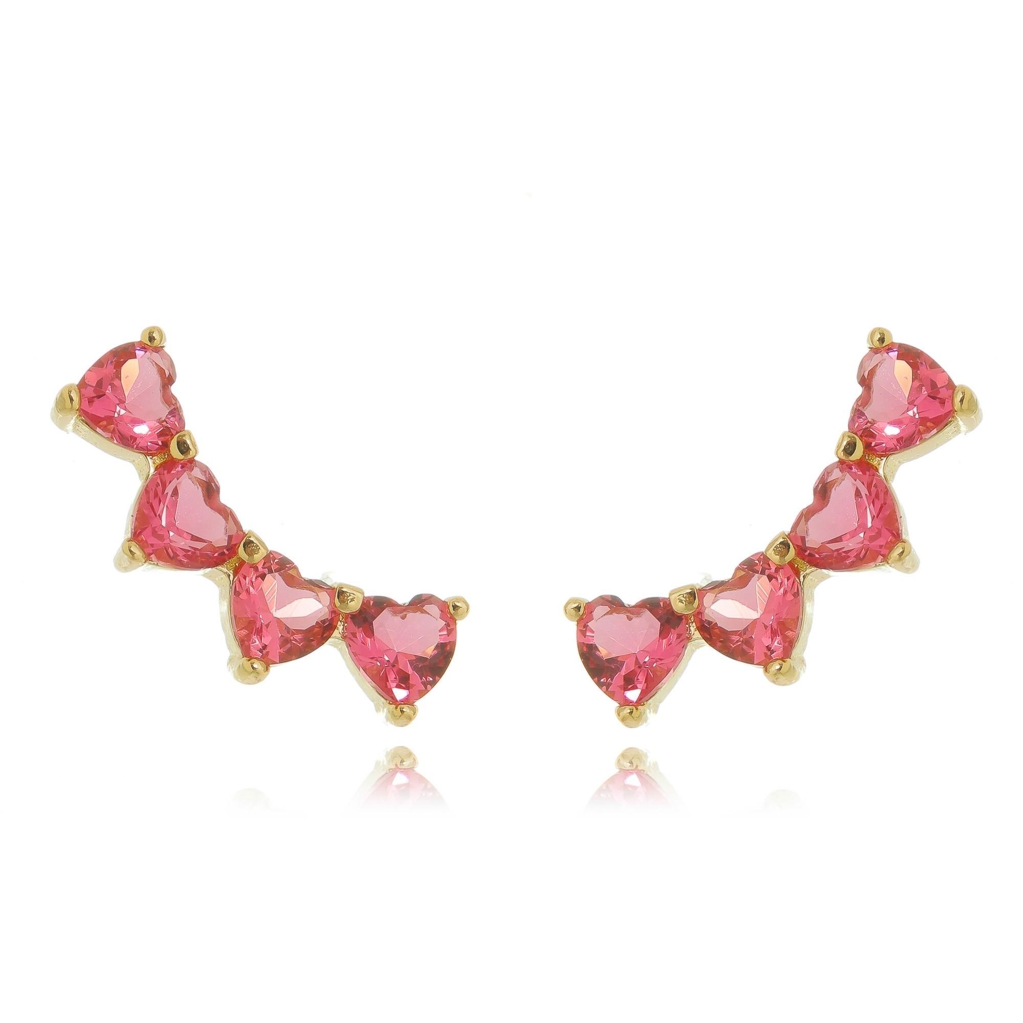 Ear Cuff Segundo Furo Corações Rosa Pink Semijoia em Ouro 18K  - Soloyou