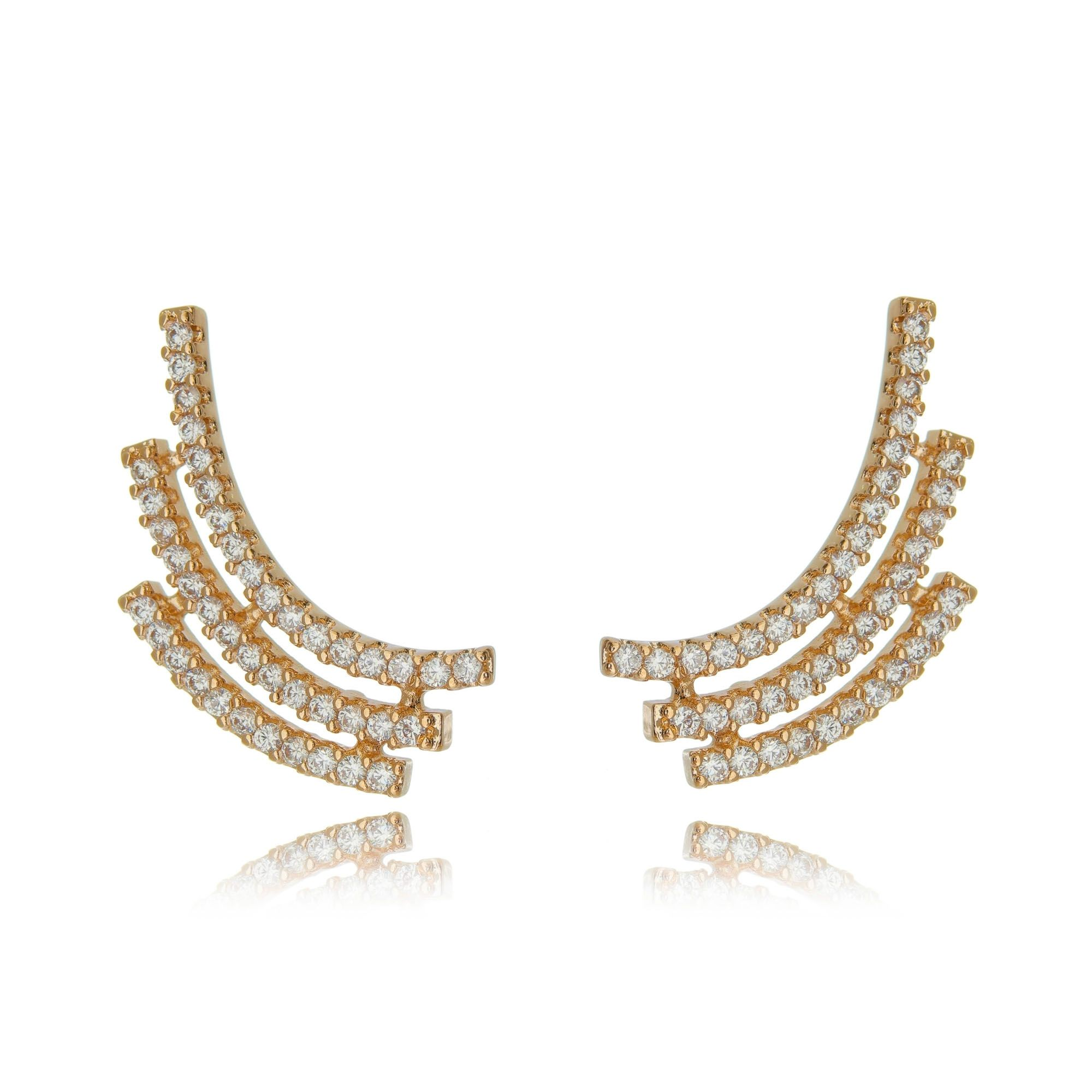 Ear Cuff Semijoia Ouro Rosé com Zircônia Branca  - Soloyou
