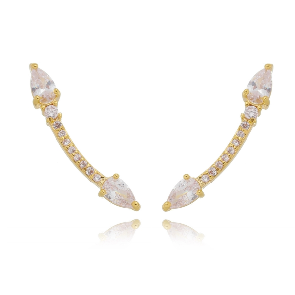 Ear Cuff Soloyou Delicado Branco Semijoia Ouro 18K  - Soloyou