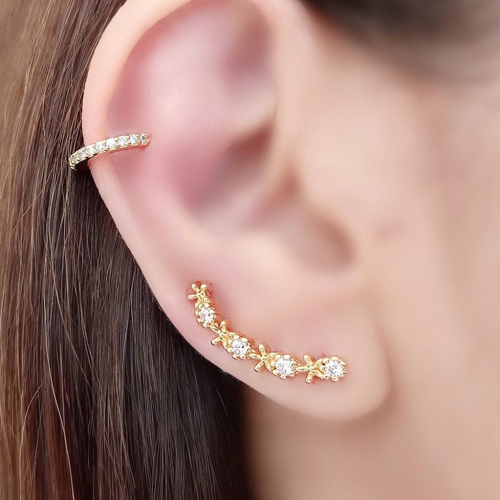 Ear Cuff Soloyou Delicado de Zircônia Semijoia Ouro 18K  - Soloyou
