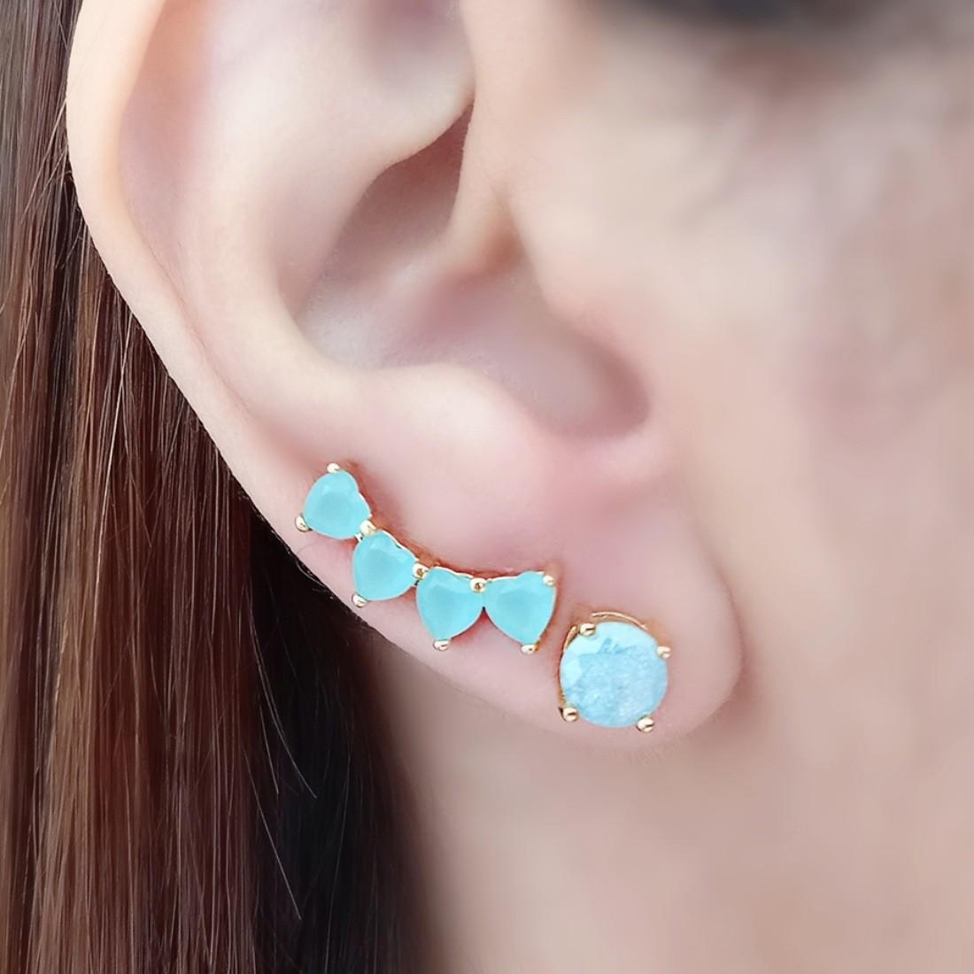 Ear Cuff Turmalina Mini Corações Semijoia em Ouro 18K  - Soloyou