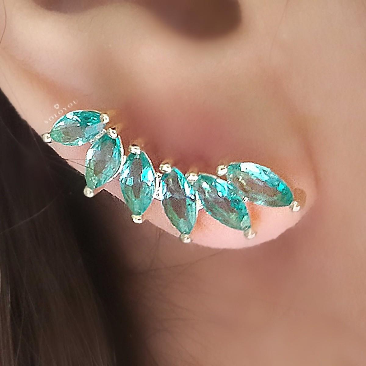 Ear Cuff Turmalina Navete Semijoia em Ouro 18K com Zircônia  - Soloyou