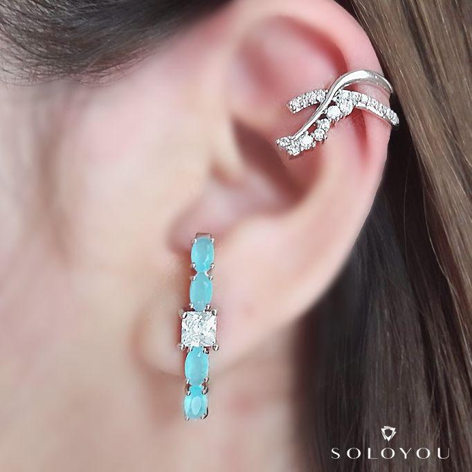 Ear Hook Água Marinha Leitosa e Zircônia Quadrada Cristal Semijoia em Ródio Branco  - Soloyou