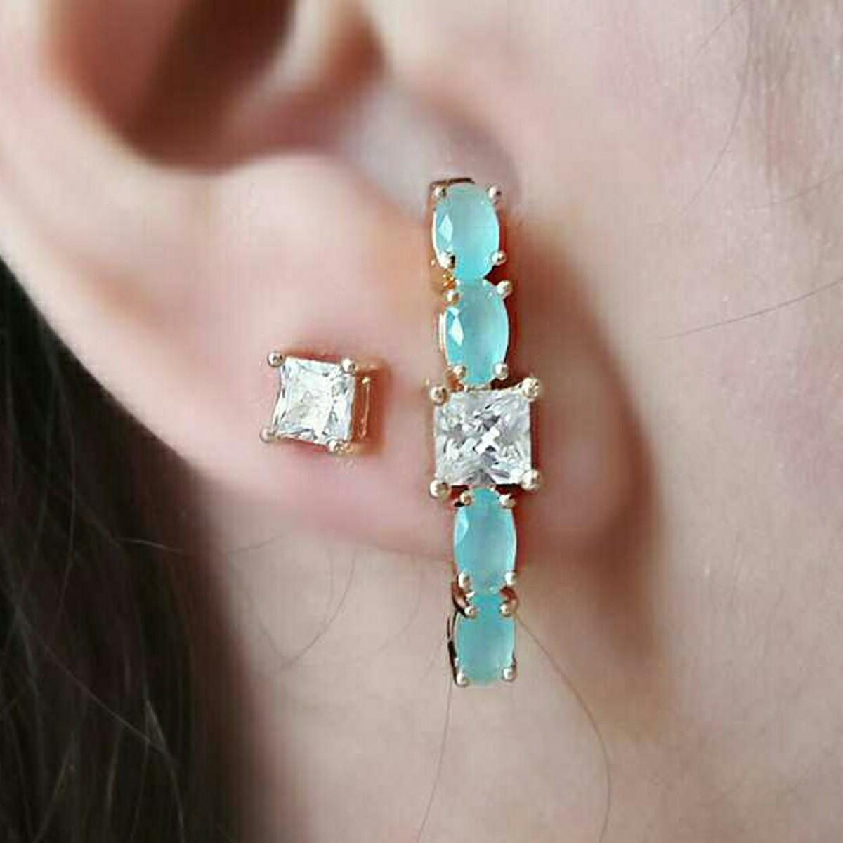 Ear Hook Dourado Água Marinha com Zircônia Quadrada Cristal Semijoia em Ouro 18K  - Soloyou
