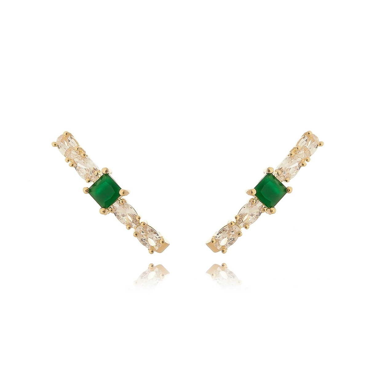 Ear Hook Moda de Zircônia Oval Branca Brilhante e Esmeralda Semijoia em Ouro 18K  - Soloyou