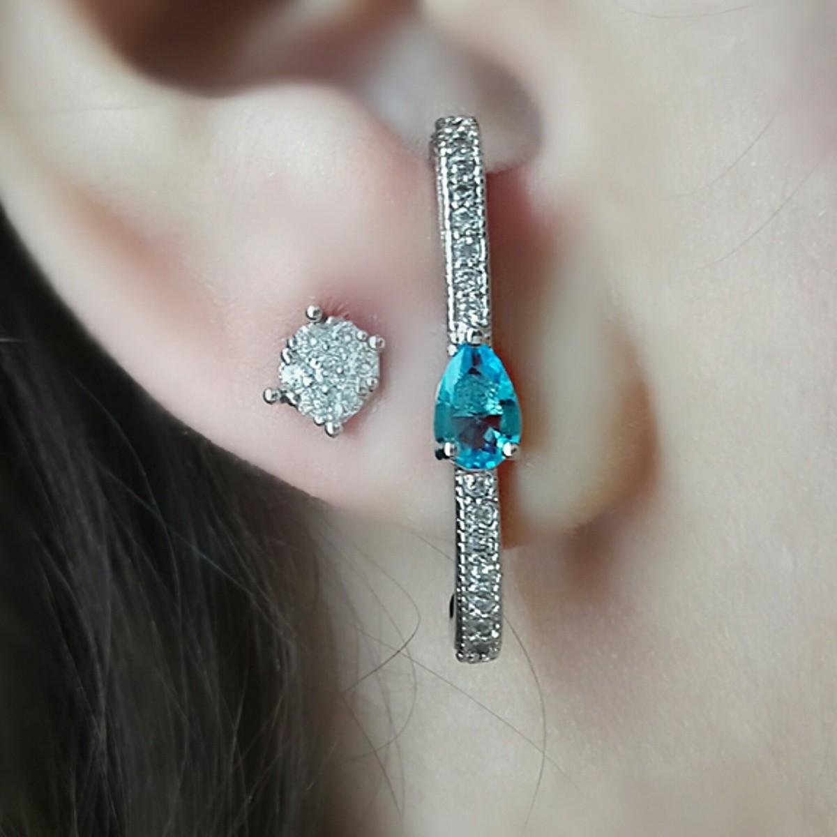 Ear Hook Prata Gotinha com Zircônias Água Marinha e Branca Semijoia em Ródio Branco  - Soloyou
