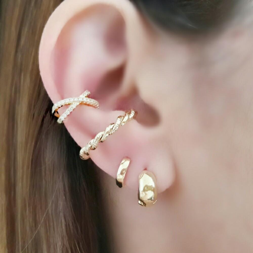 Ear Hook Soloyou Encaixe Trançado Semijoia Ouro 18K  - Soloyou