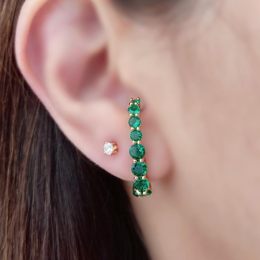 Ear Hook Soloyou Luxo Esmeralda Semijoia Ouro 18K  - Soloyou