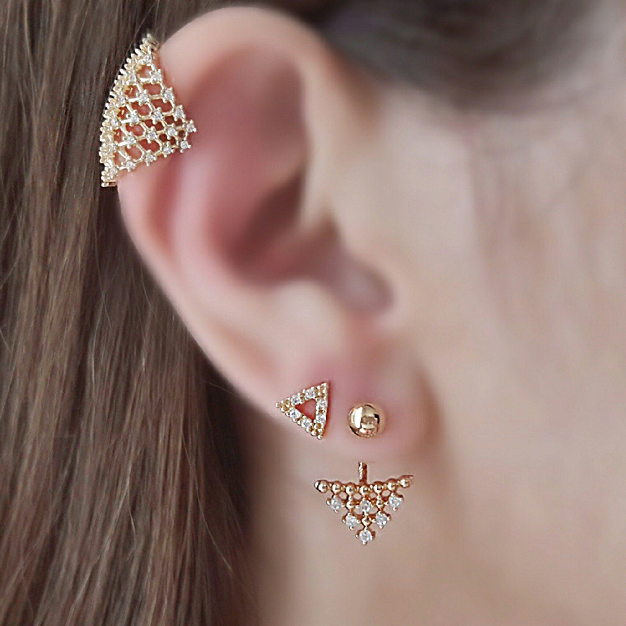 Ear Jacket Delicado Zircônia Branca Semijoia em Ouro 18K   - Soloyou