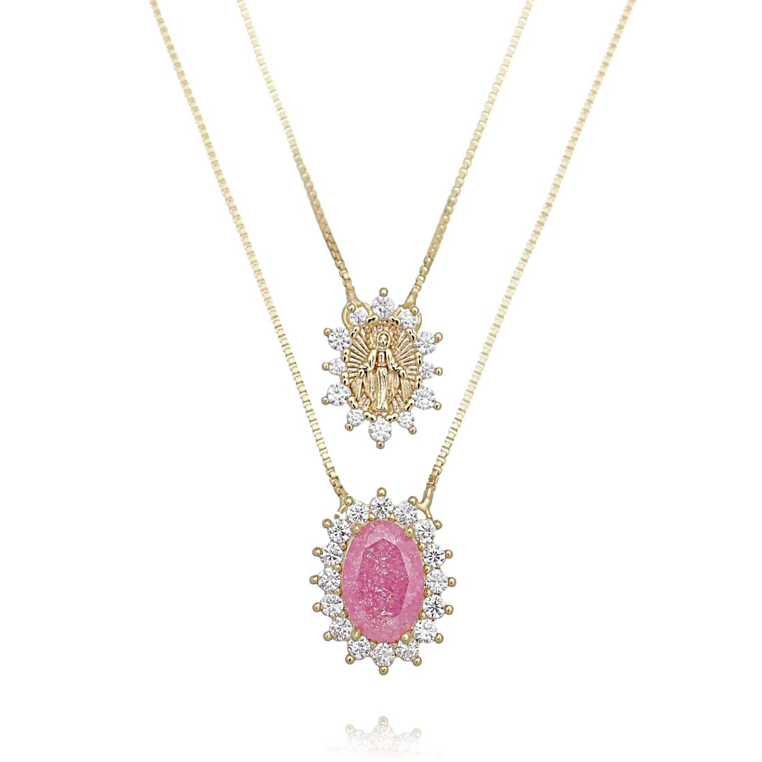 Escapulário de Nossa Senhora das Graças Pedra Fusion Rosa e Zircônia Semijoia Ouro  - Soloyou