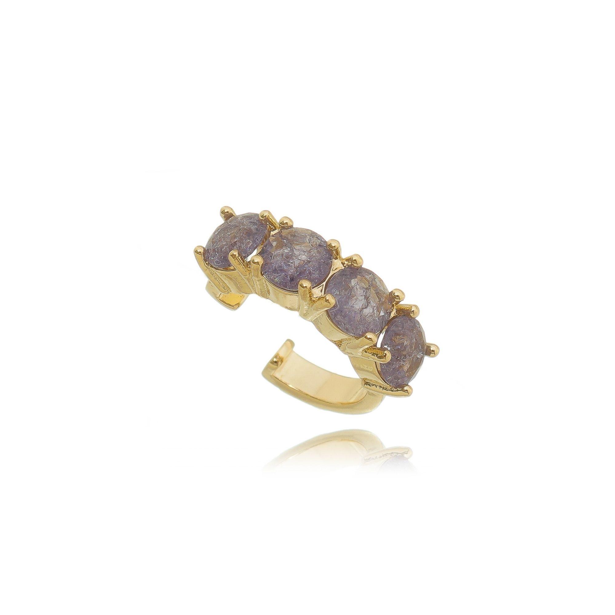 Fake Piercing Pedra Fusion Tanzanita Semijoia em Ouro 18K  - Soloyou