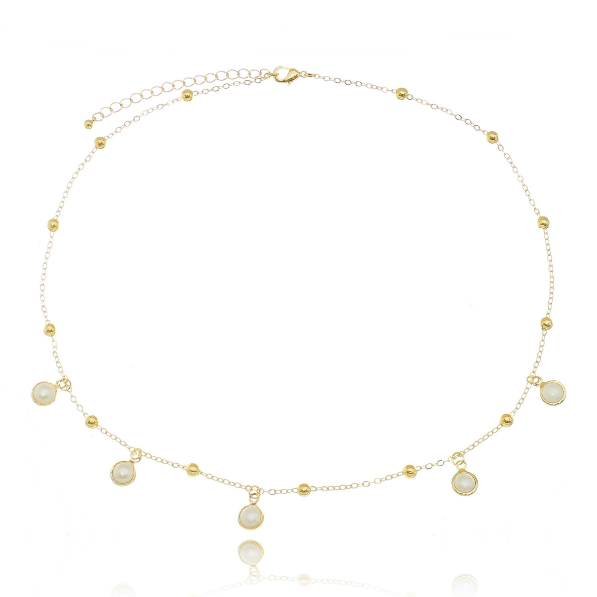 Gargantilha Dourada de Pérolas com Bolinhas Semijoia Fashion em Ouro 18K  - SOLOYOU