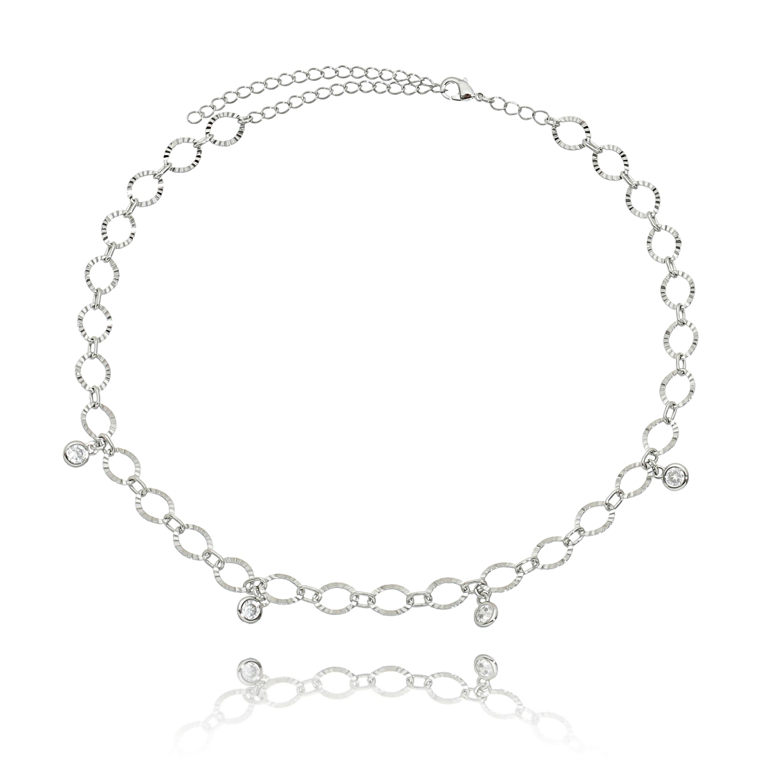 Gargantilha e Choker Elos com Zircônia Cristal Semijoia Ródio Branco  - Soloyou