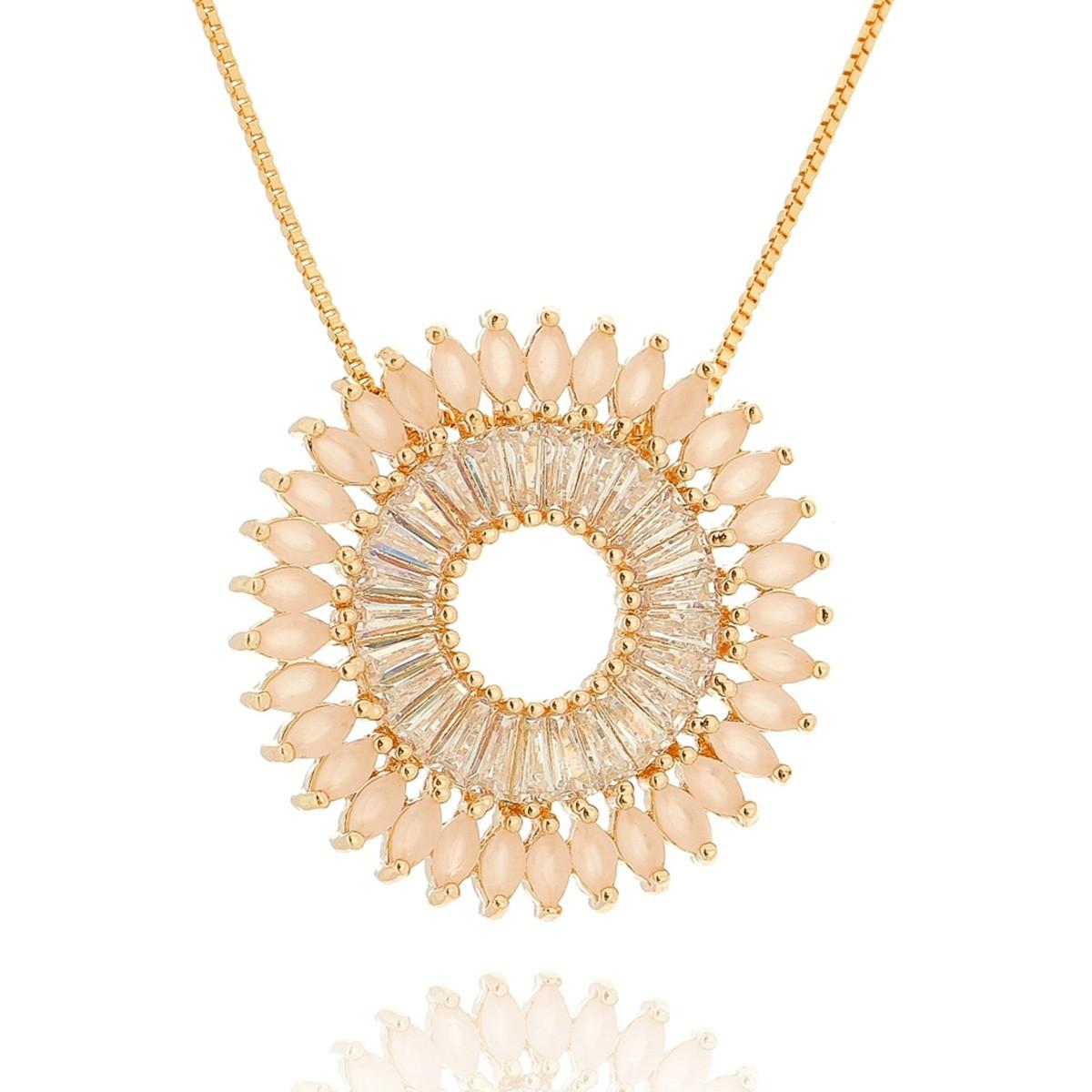 Mandala de Zircônias Quartzo Rosa Leitoso e Branca Brilhante Semijoia em  Ouro 18K - SOLOYOU ... 17de394ffd