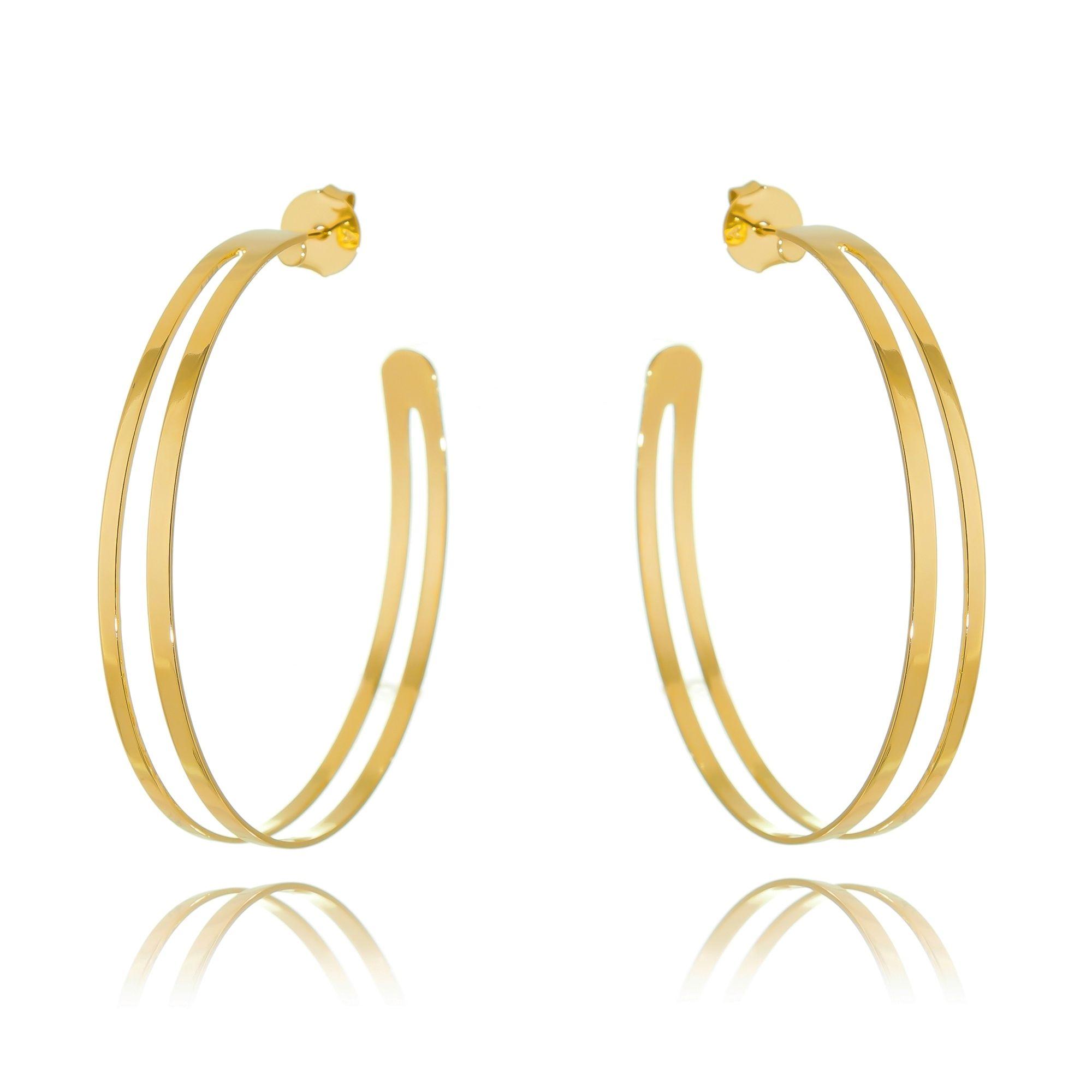 Maxi Argola Dourada Semijoia Fashion Ouro  - Soloyou