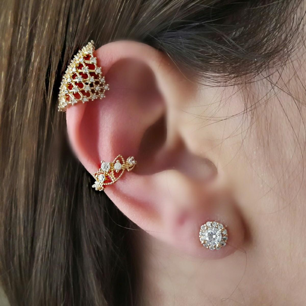 Piercing de Orelha Cravejado de Zircônia Branca Coroa Semijoia em Ouro 18K  - Soloyou