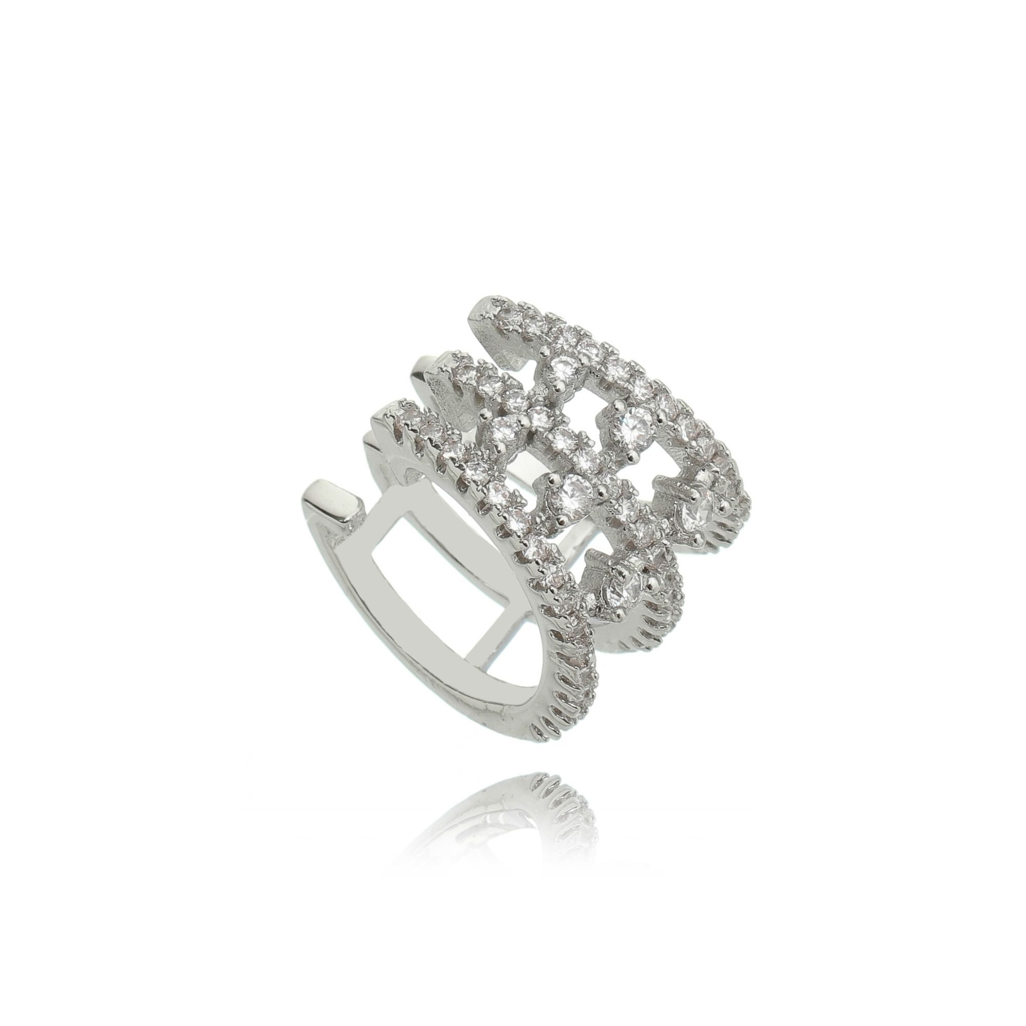Piercing Falso de Zircônia Cristal Semijoia Fashion Ródio Branco  - SOLOYOU