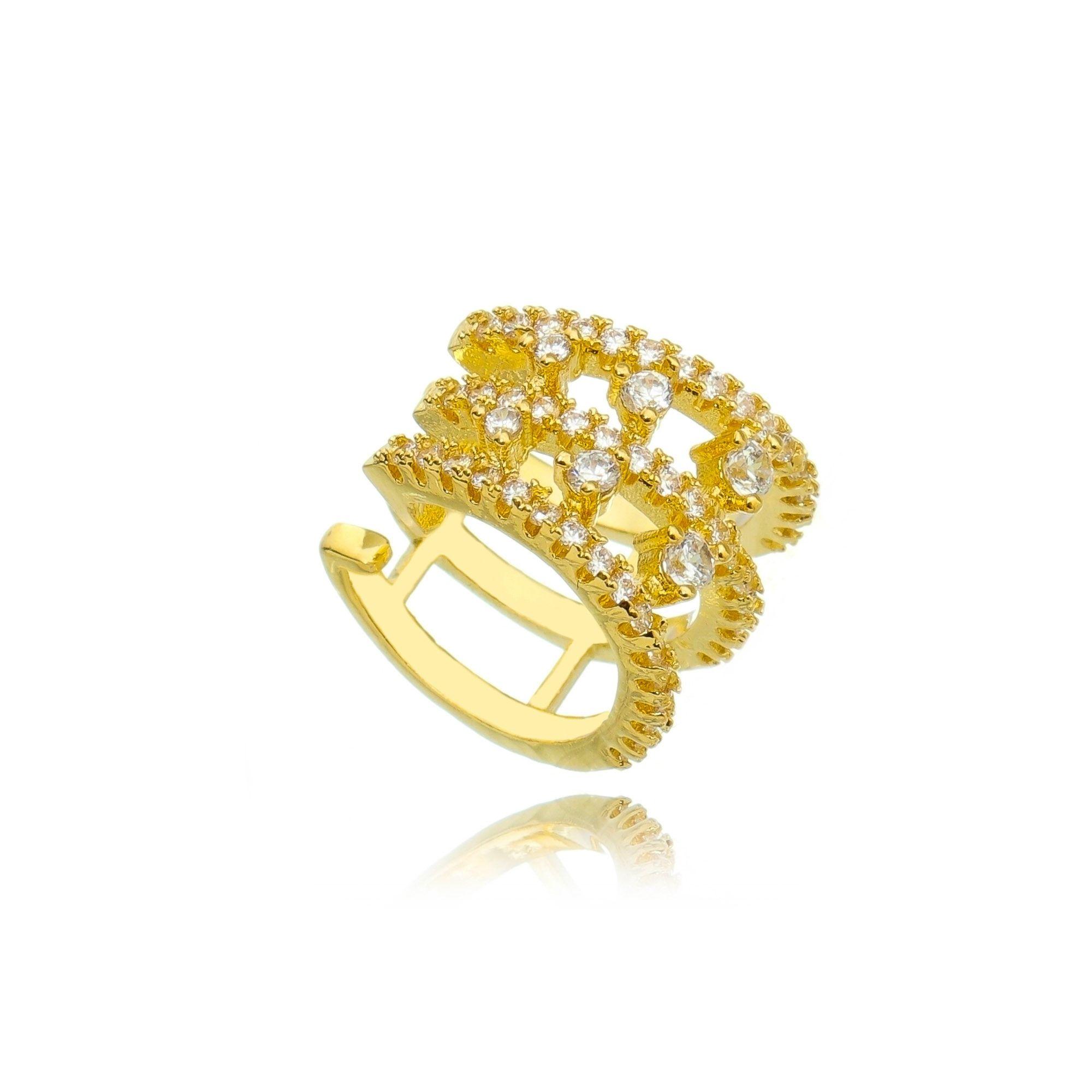 Piercing Falso Dourado com Zircônia Cristal Semijoia Fina Ouro  - Soloyou