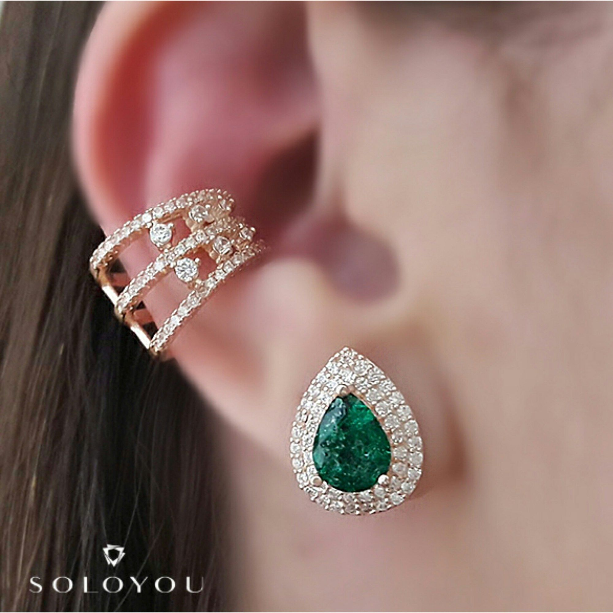 Piercing Falso Ouro Rosa Zircônia Cristal Semijoia de Luxo  - SOLOYOU