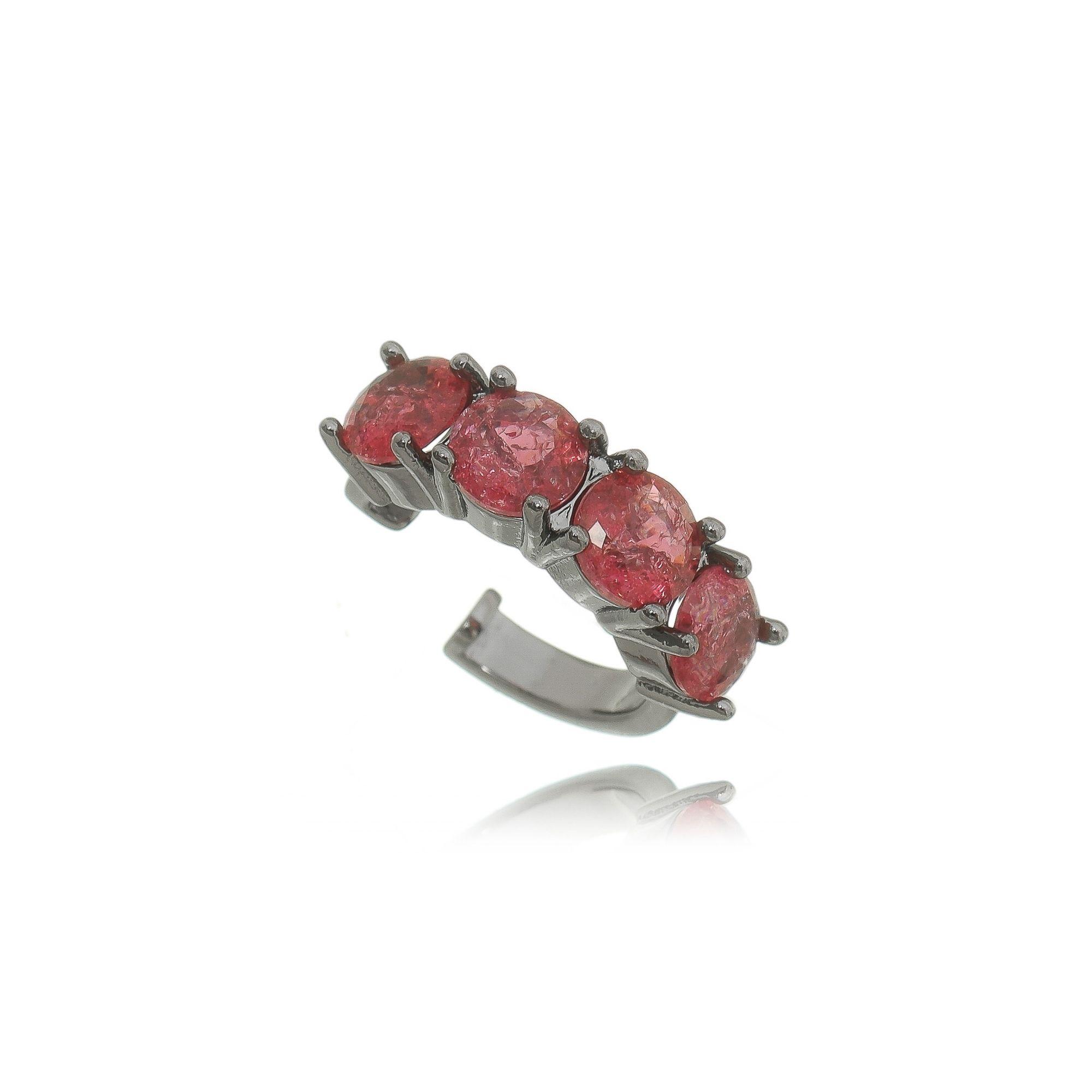 Piercing Falso Pedra Fusion Rubi Rosa Semijoia em Ródio Negro  - Soloyou