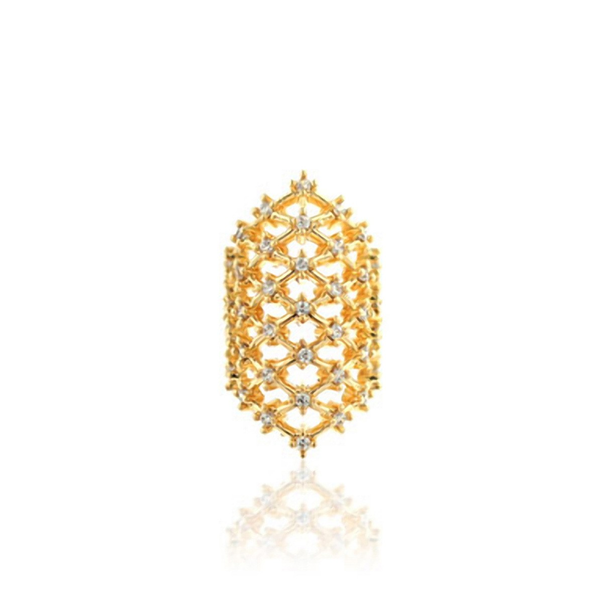 Piercing Falso Rendado Luxo Cravejado de Zircônia Semijoia em Ouro 18K  - SOLOYOU