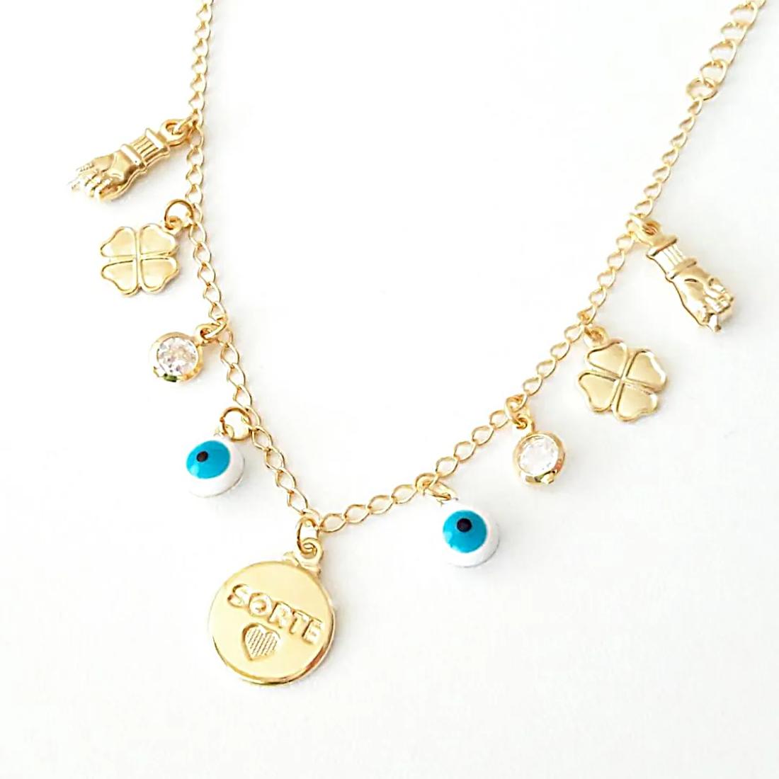 Pulseira Amuletos da Sorte com Zircônia Branca em Ouro 18K  - Soloyou