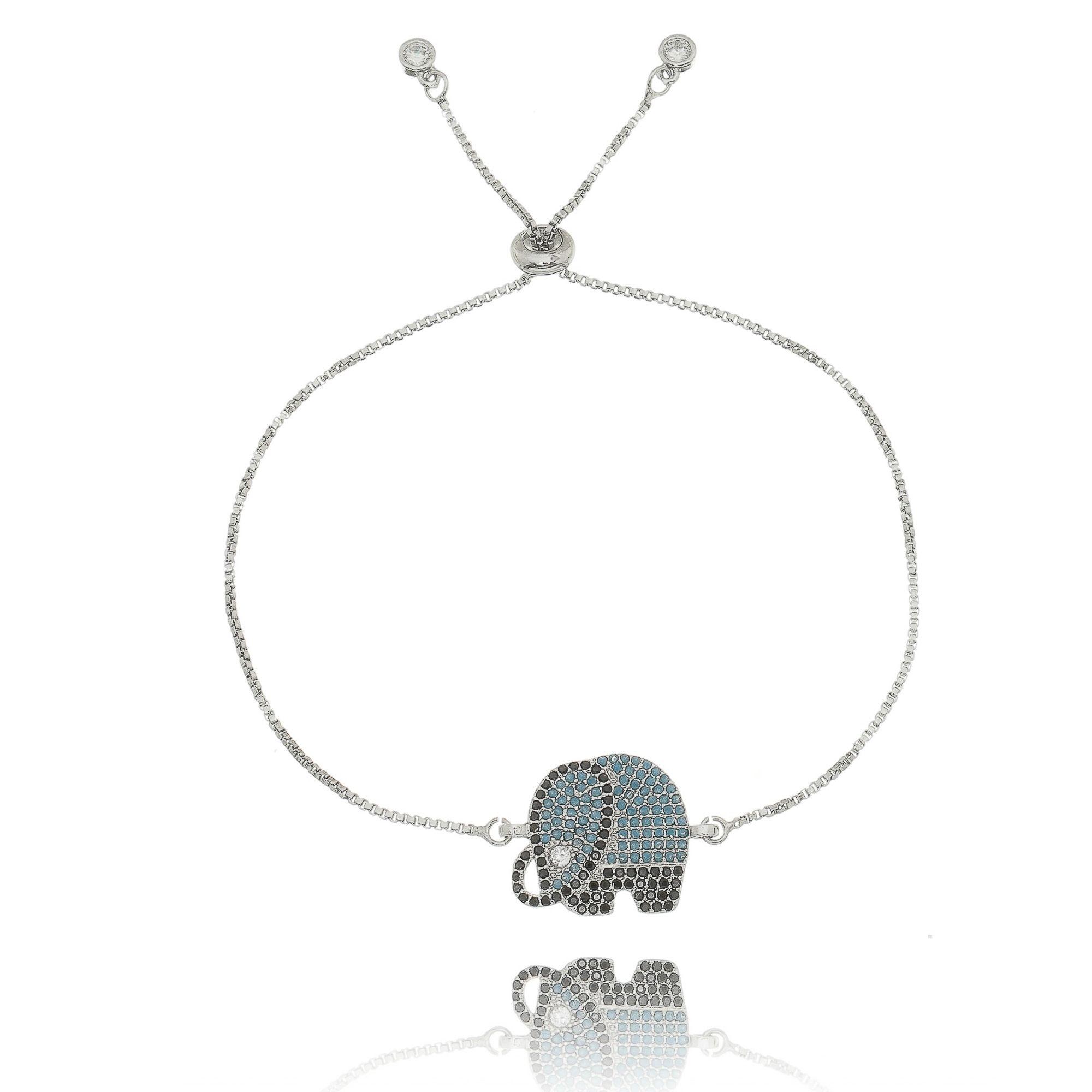 Pulseira com Pingente Elefante Sorte Zircônias Preta, Turquesa e Cristal Semijoia Ródio Branco  - Soloyou
