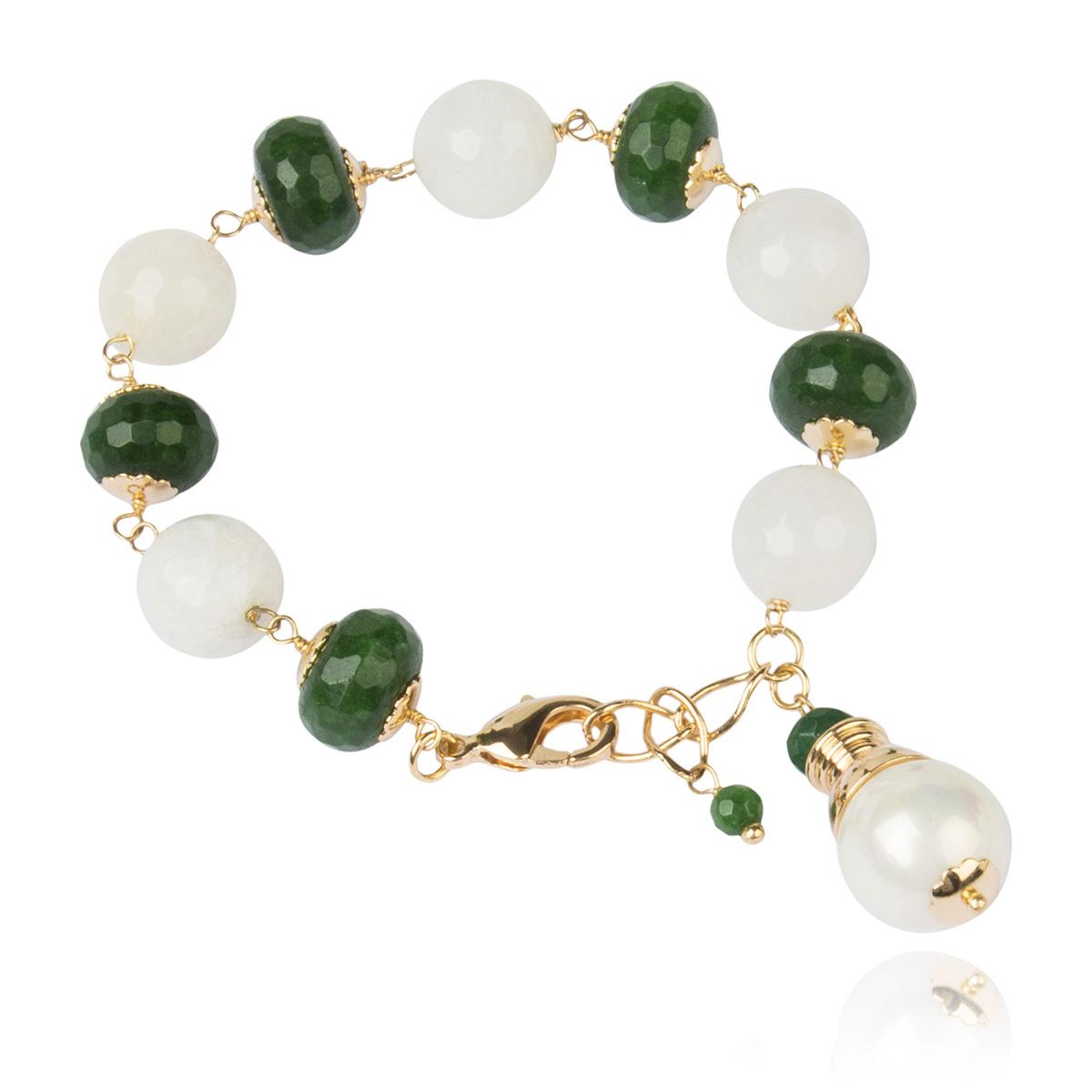 Pulseira de Pedras Naturais Quartzo Branco Leitoso e Jade Verde Semijoia em Ouro 18K  - Soloyou