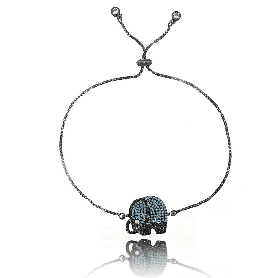Pulseira de Elefante Ajustável Amuleto da Sorte Zircônia Turquesa Semijoia Ródio Negro  - Soloyou