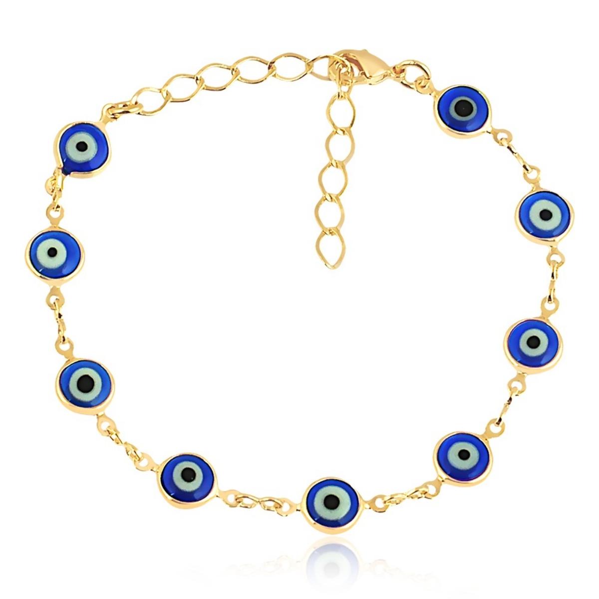 Pulseira de Olho Grego Azul Semijoia em Ouro 18K  - Soloyou