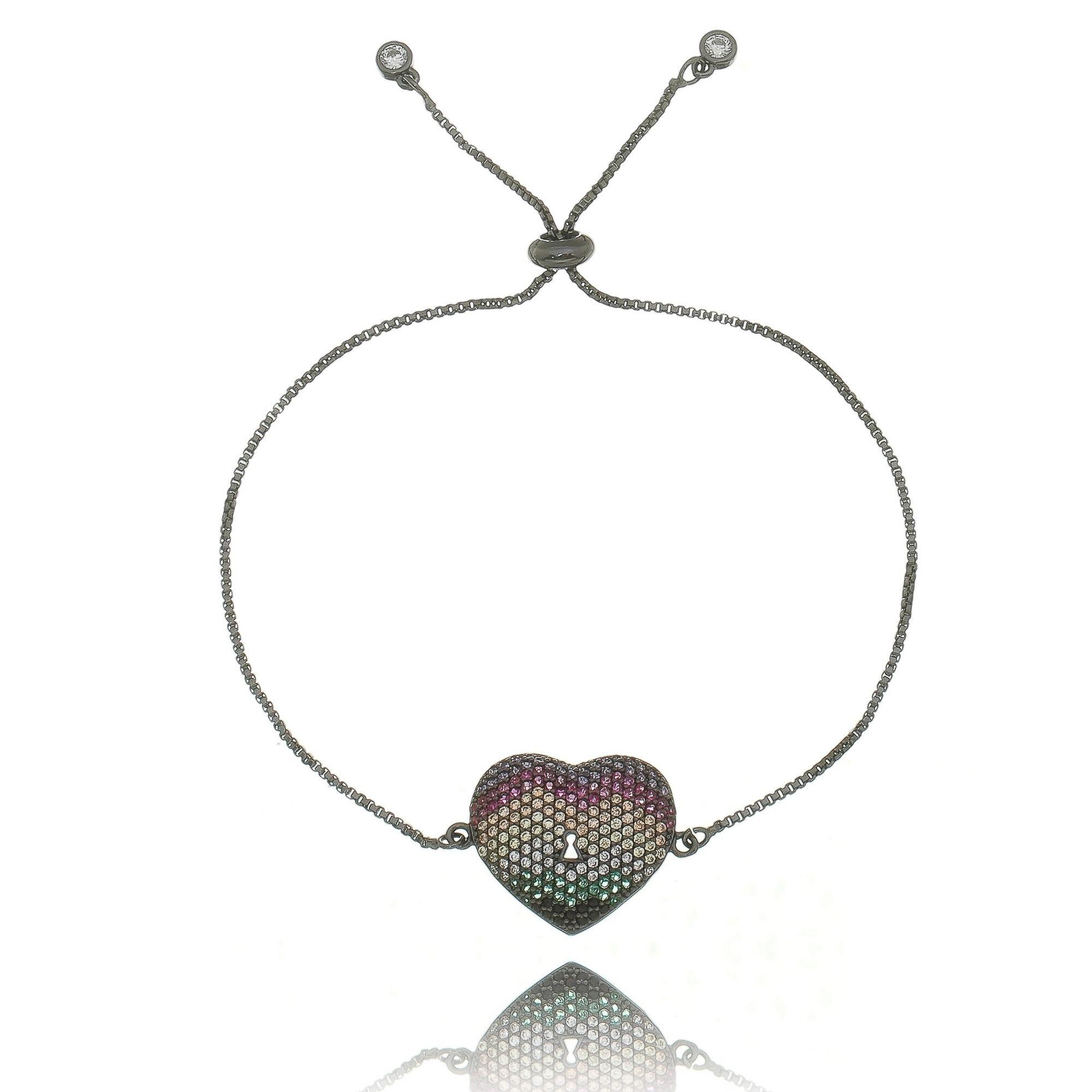 Pulseira de Zircônias Colorida Coração Ajustável Semijoia Online em Ródio Negro  - Soloyou