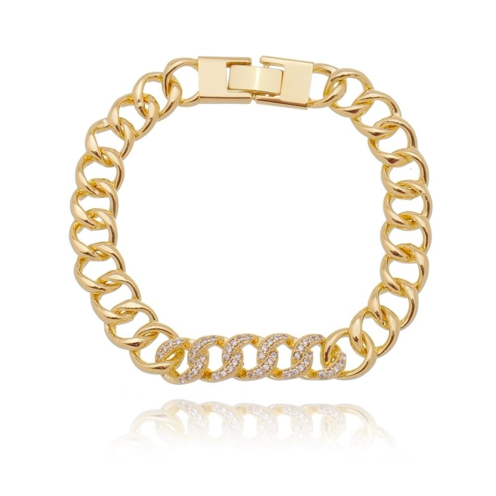 Pulseira Elos com Zircônias Brancas Luxo Semijoia Ouro 18K  - Soloyou