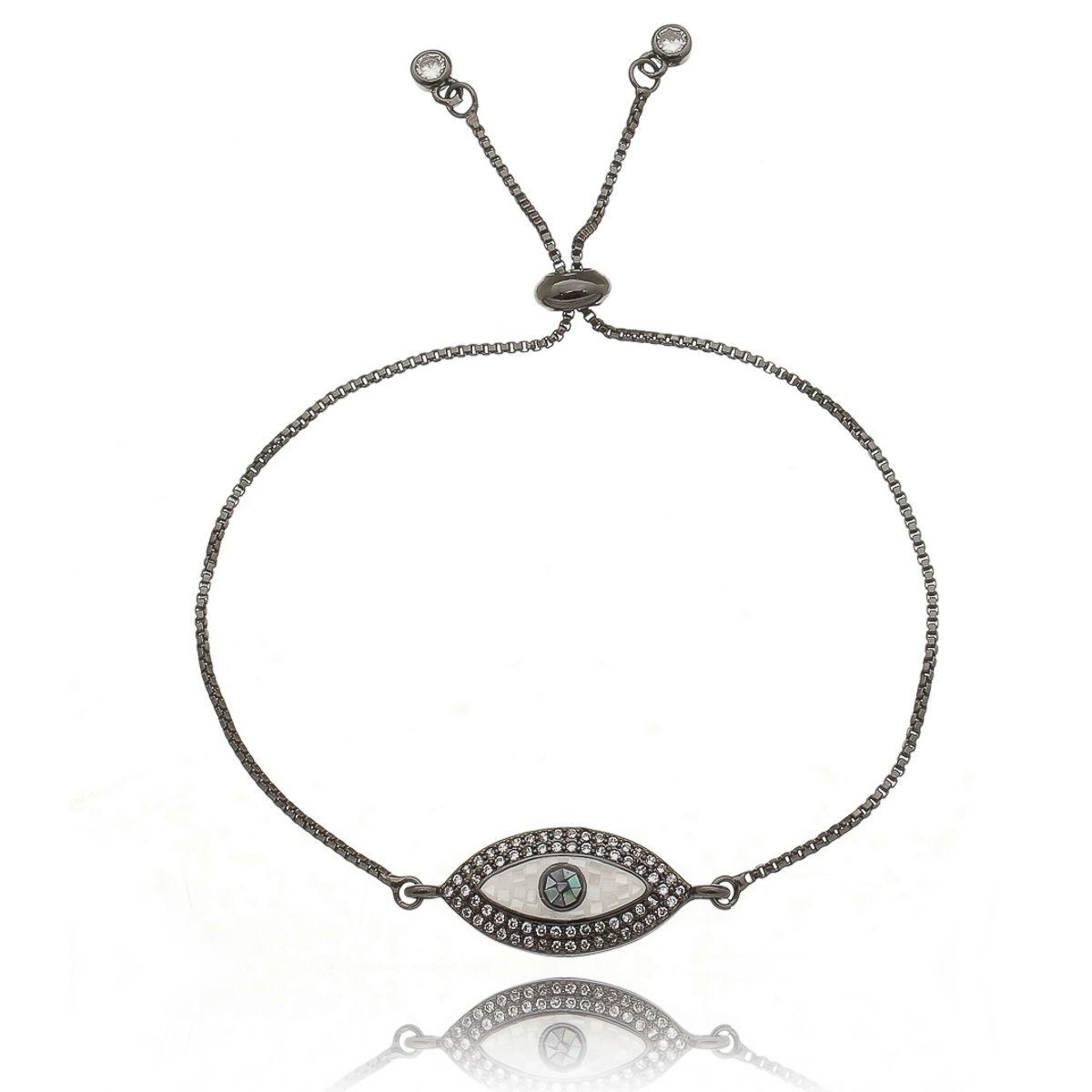 Pulseira Olho Grego Ajustável Madrepérola e Zircônia Branca Semijoia Luxo em Ródio Negro  - Soloyou