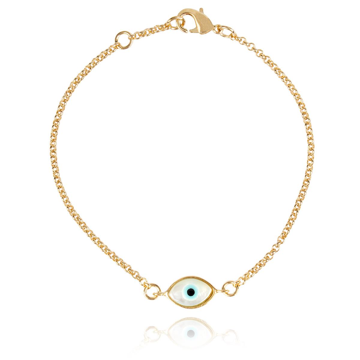 Pulseira Olho Grego de Madrepérola Semijoia em Ouro 18K  - Soloyou