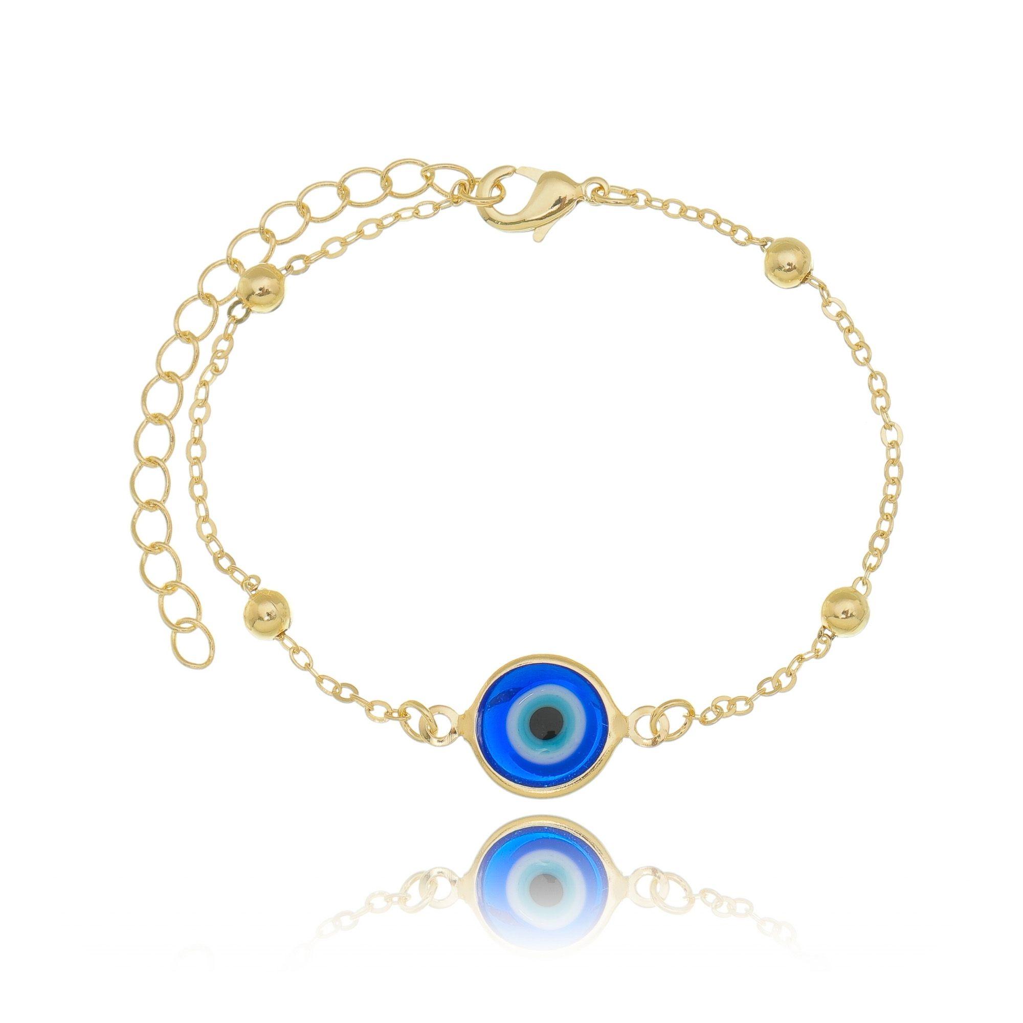 Pulseira Olho Grego Dourada Azul Semijoia em Ouro 18K  - SOLOYOU