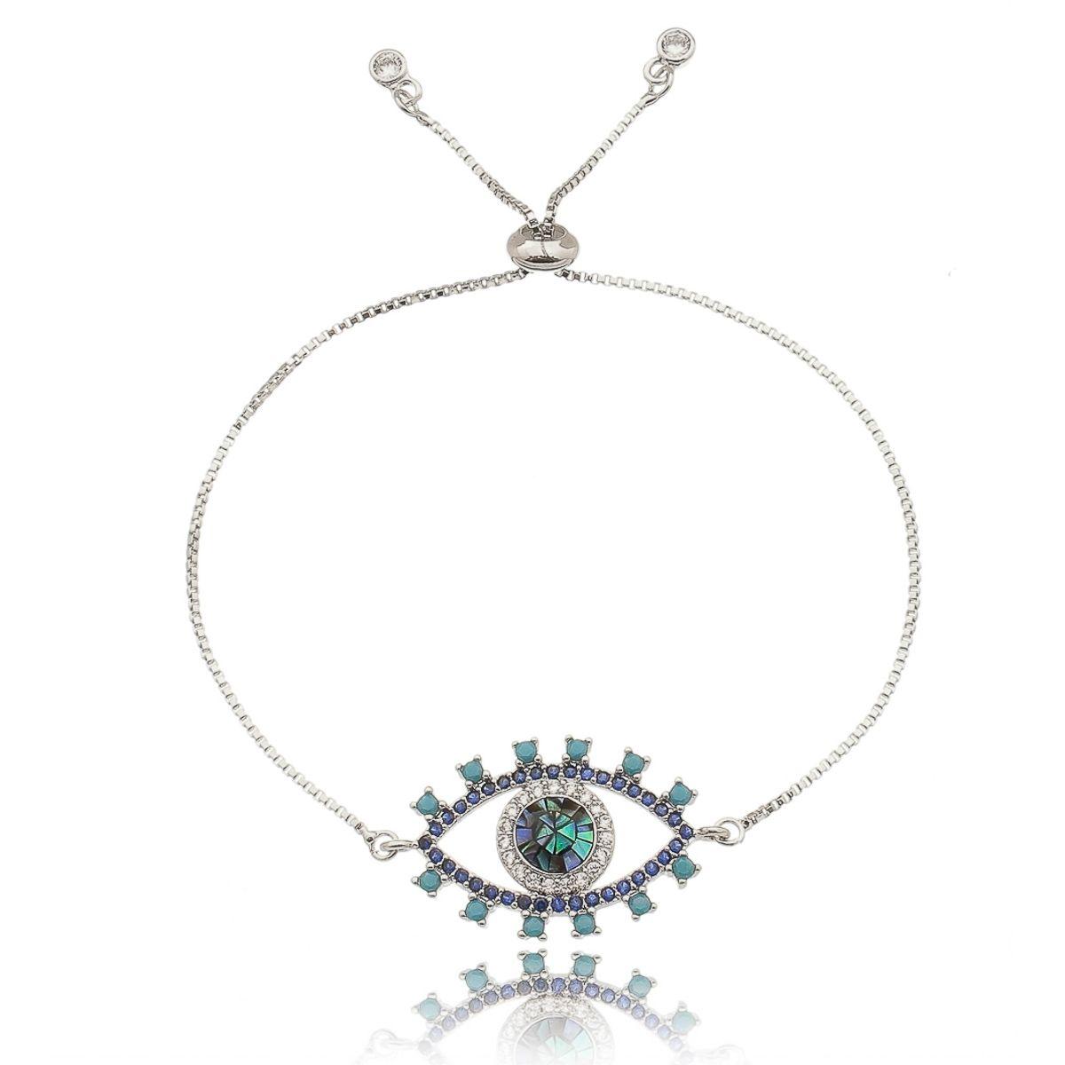Pulseira Olho Grego Mosaico em Madrepérola e Zircônias Cristal e Turquesa Semijoia Luxo Ródio Branco  - Soloyou