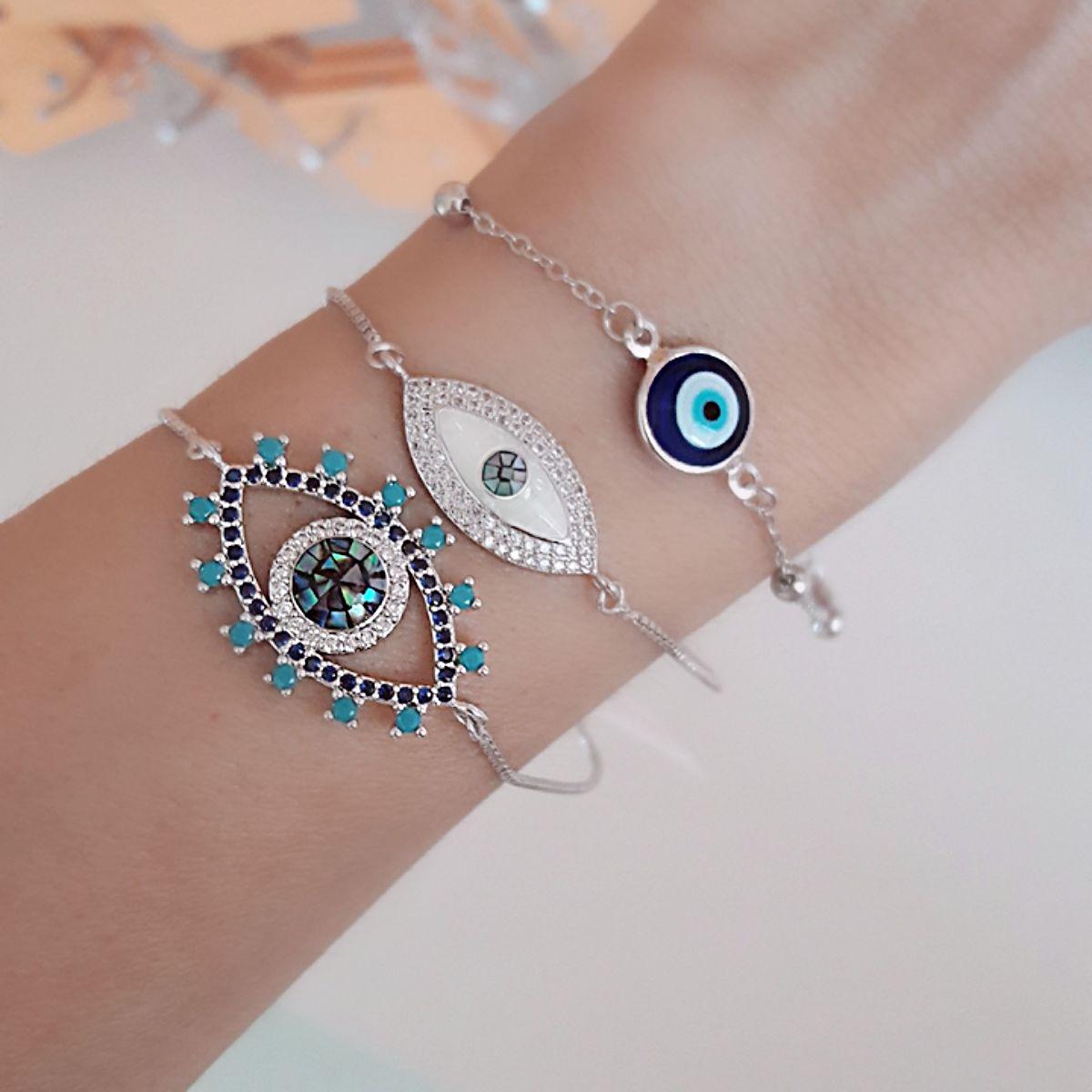 Pulseira Olho Grego ou Olho Turco Azul Semijoia Ródio Branco  - Soloyou