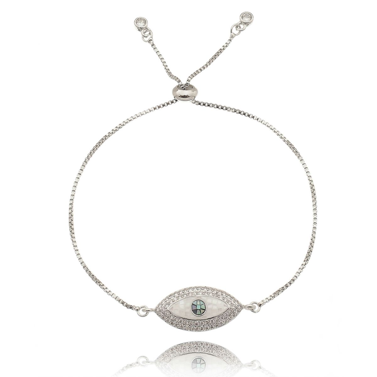 Pulseira Olho Grego Regulável Zircônia Branca e Madrepérola Semijoia em Ródio Branco  - Soloyou