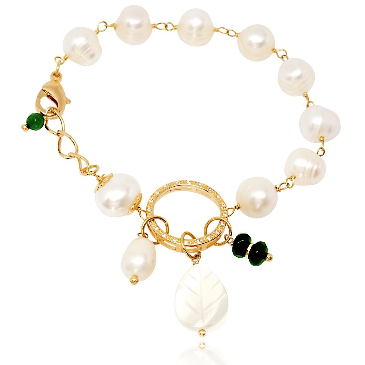 Pulseira Pérolas Água Doce Fashion Semijoia Ouro 18K com Zircônia Branca e Pedra Natural Jade  - Soloyou