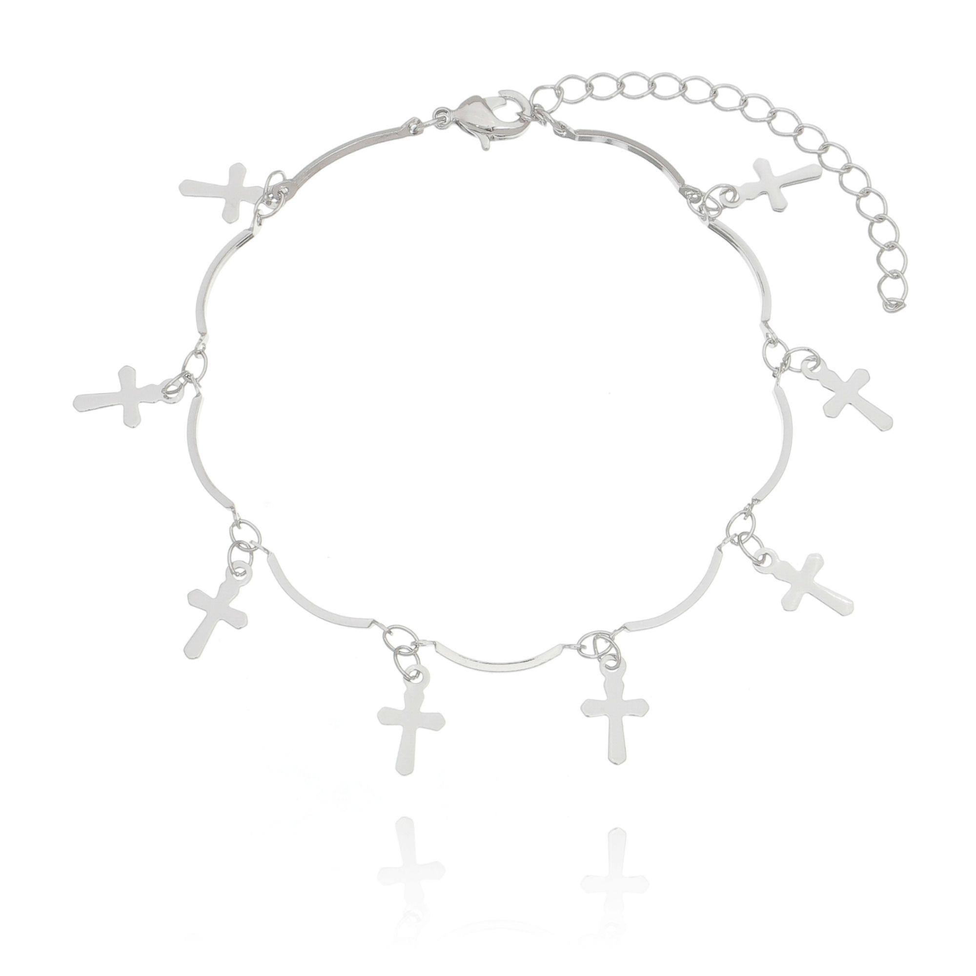 Pulseira Pingentes de Cruz Prata em Ródio Branco  - Soloyou