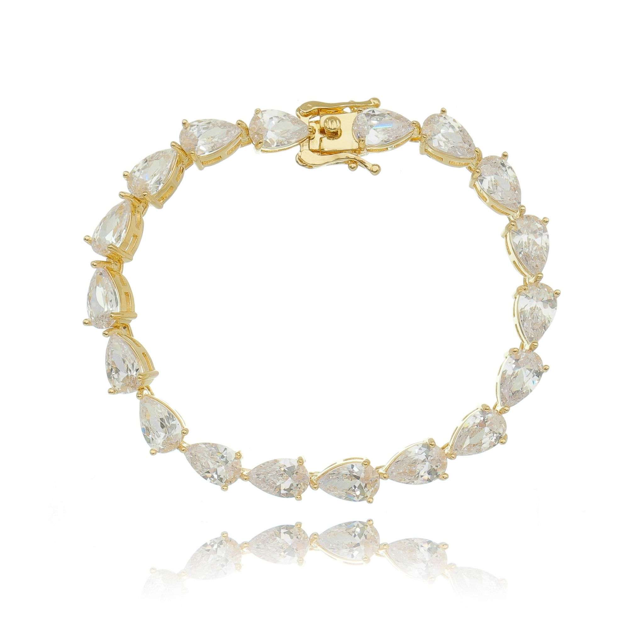 Pulseira Riviera Gota Cristal Dourada Semijoia Luxuosa Ouro  - Soloyou