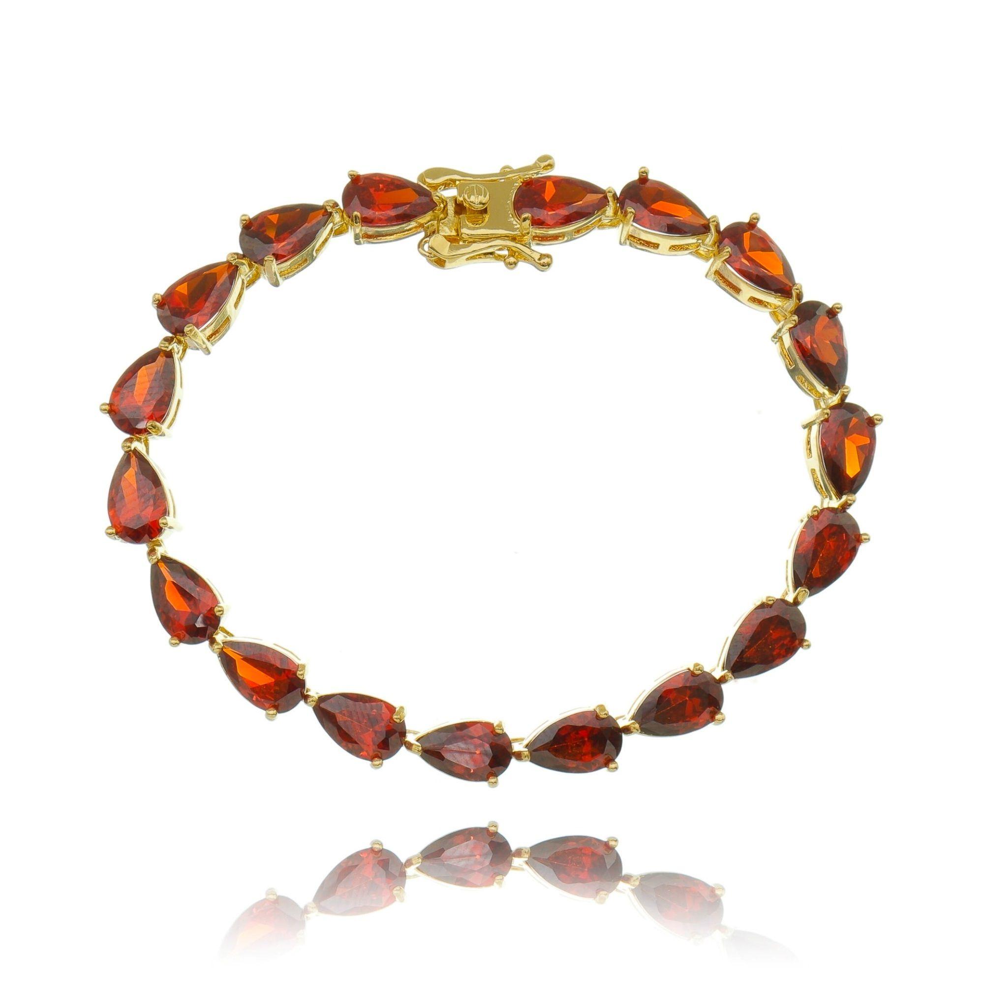 Pulseira Riviera Gota Vermelha Garnet Dourada Semijoia Ouro  - Soloyou