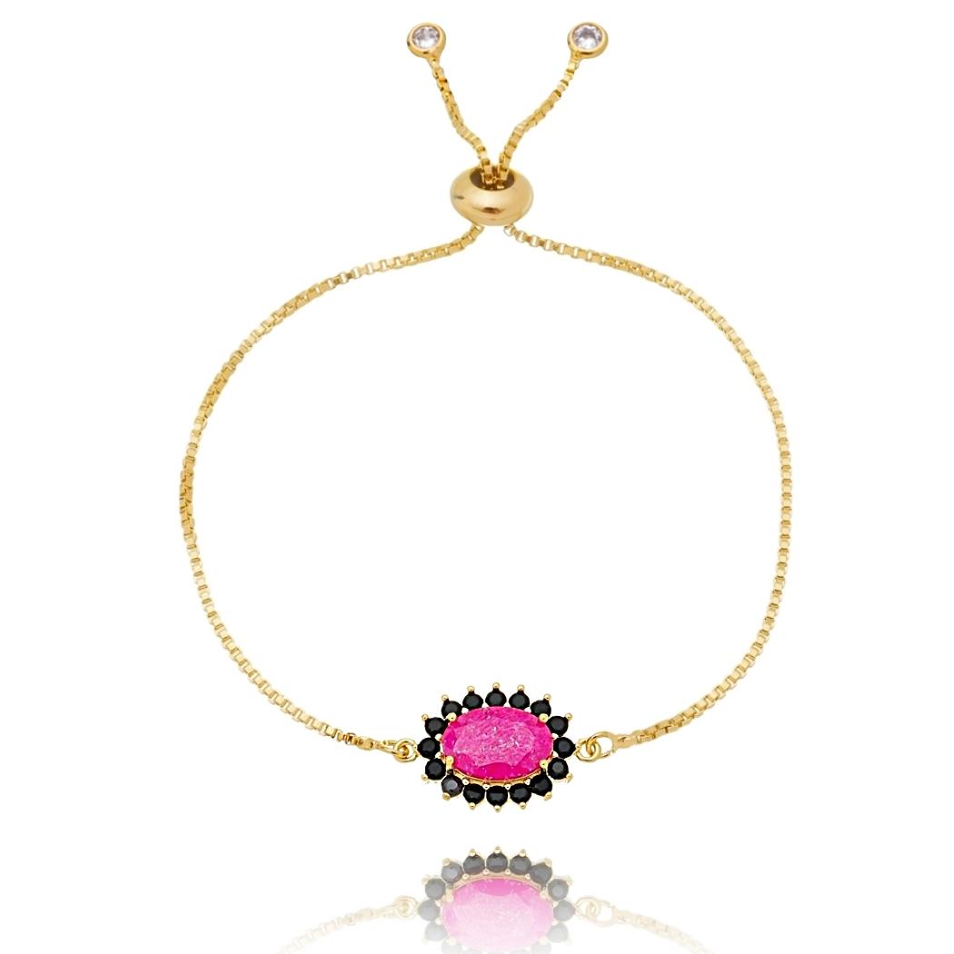 Pulseira Soloyou Oval Rosa Pink e Zircônia Preta Semijoia Ouro 18K  - Soloyou